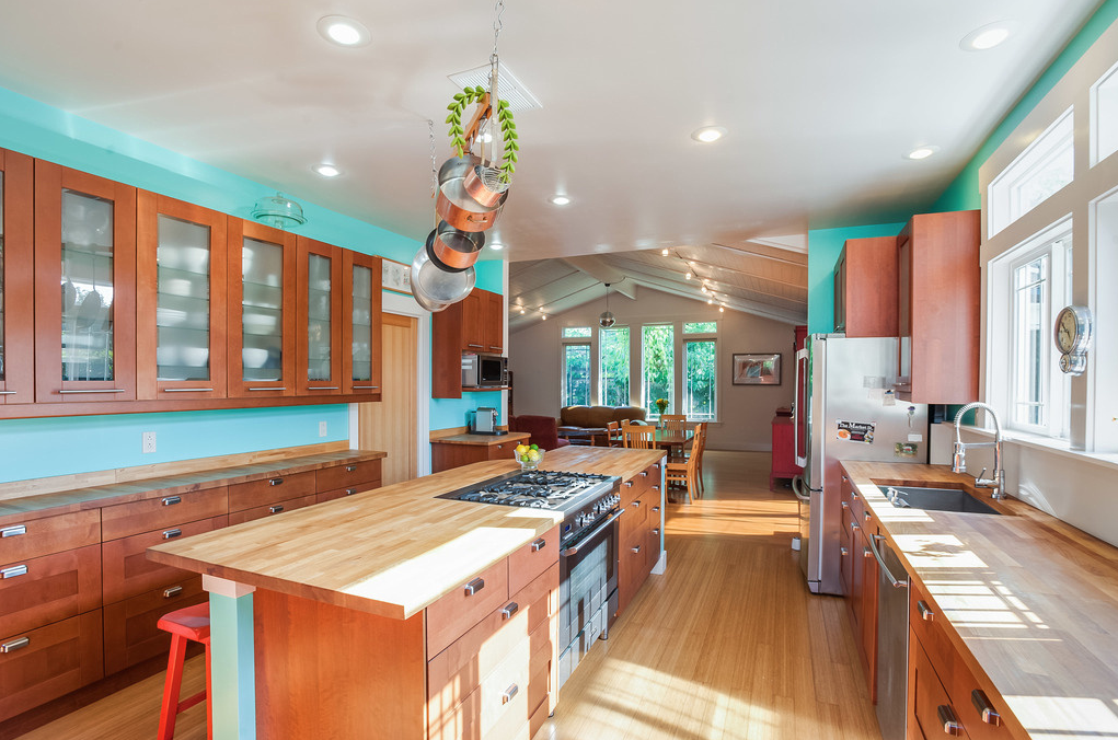 New kitchen addition has plenty of counterspace with bamboo floors and wood counters