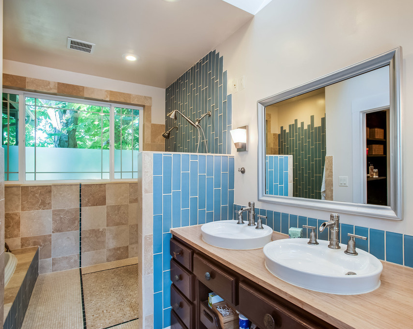 New Master Bathroom faces the backyard