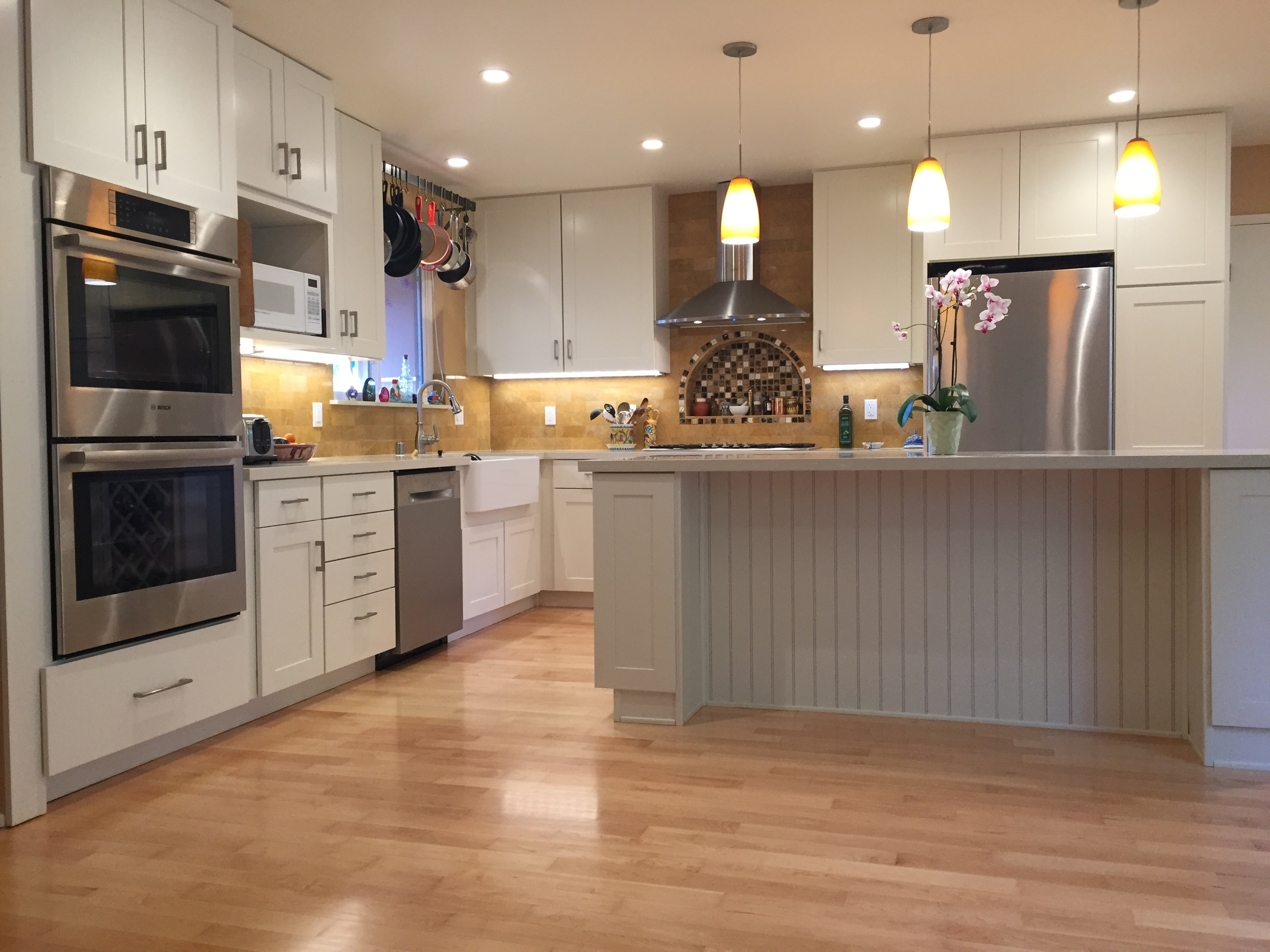 Mill Valley Kitchen Remodel- all new appliances, cabinets, counters, new 8 foot island.