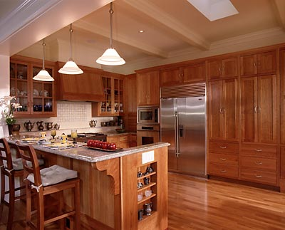 Mill Valley, Ca. Cherry Kitchen I did 15 years ago still looks great for a Victorian Style House. My signature shelf across the back of the stove keeps clutter off the counters.