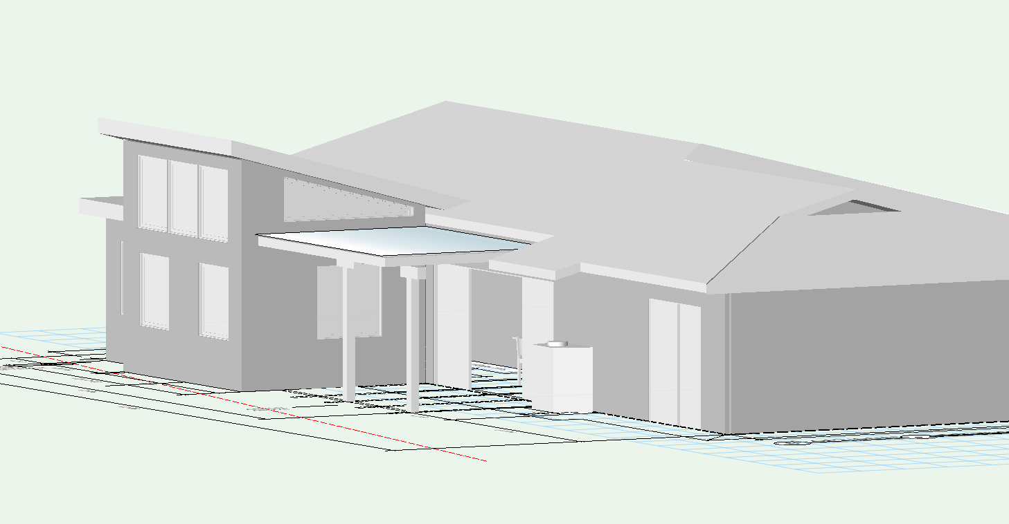 Here is a CAD generated 3D model of the proposed Kitchen addition to the back of the house
