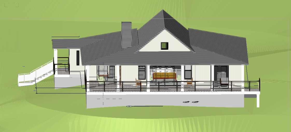 Just submitting for permit, these are the latest model shots. This is the back side of the house that faces the view. It has a huge South facing Covered Porch that has an outdoor fireplace and a built-in BBQ, for entertaining in style and ease.