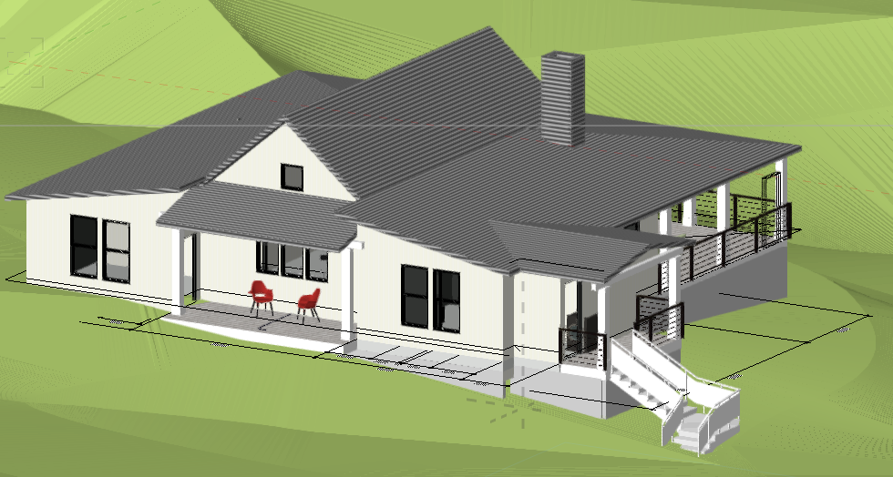 The front of the house has an Entry Porch to welcome visitors and a side porch for future access to a barn. This side of the house faces North.