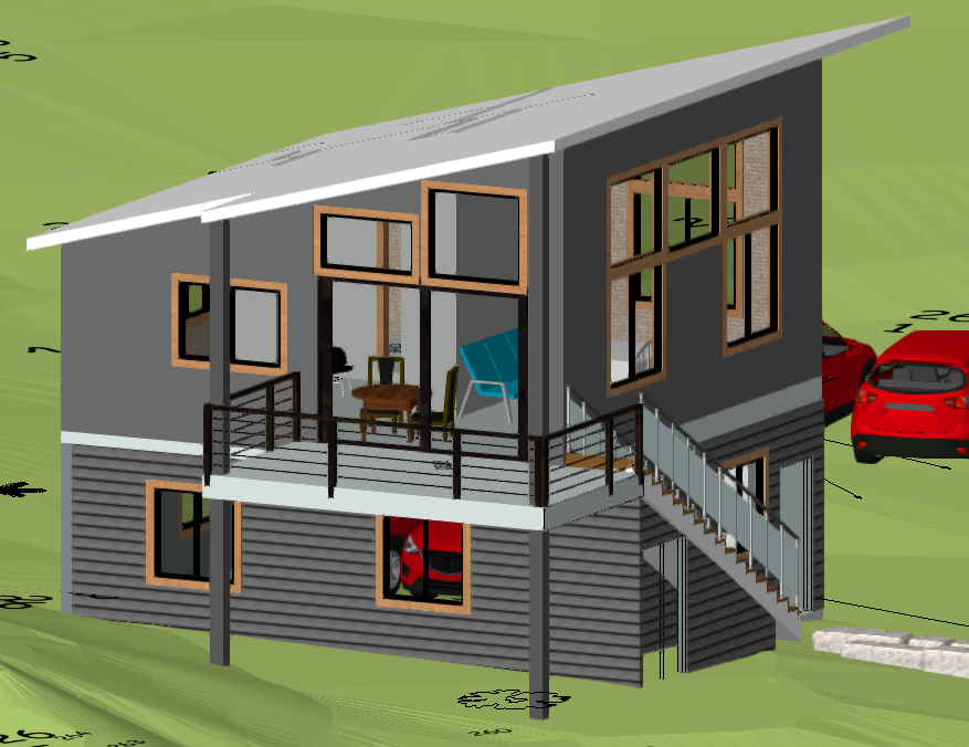 This s the digital rendering of the side of the studio. The garage is below and the stairs on the side lead to an airy studio complete with kitchen and fireplace.