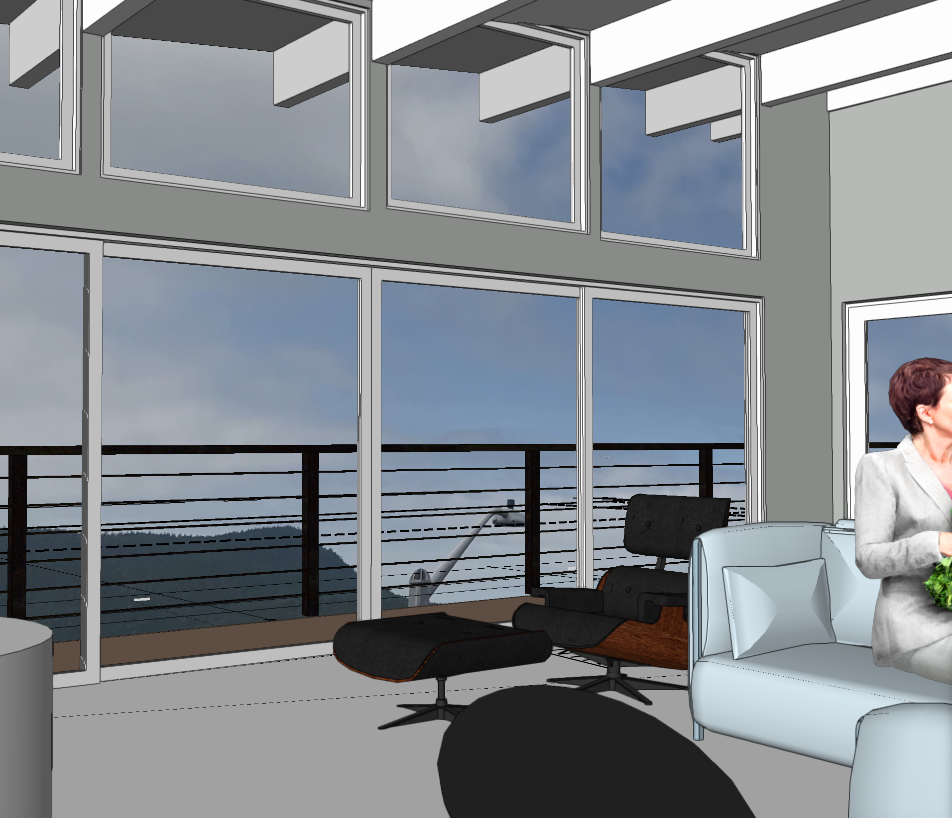 "This is an Interior Shot of the Model with the view simulation- the house will be in the ""SkyLine"" neighborhood of Anacortes."