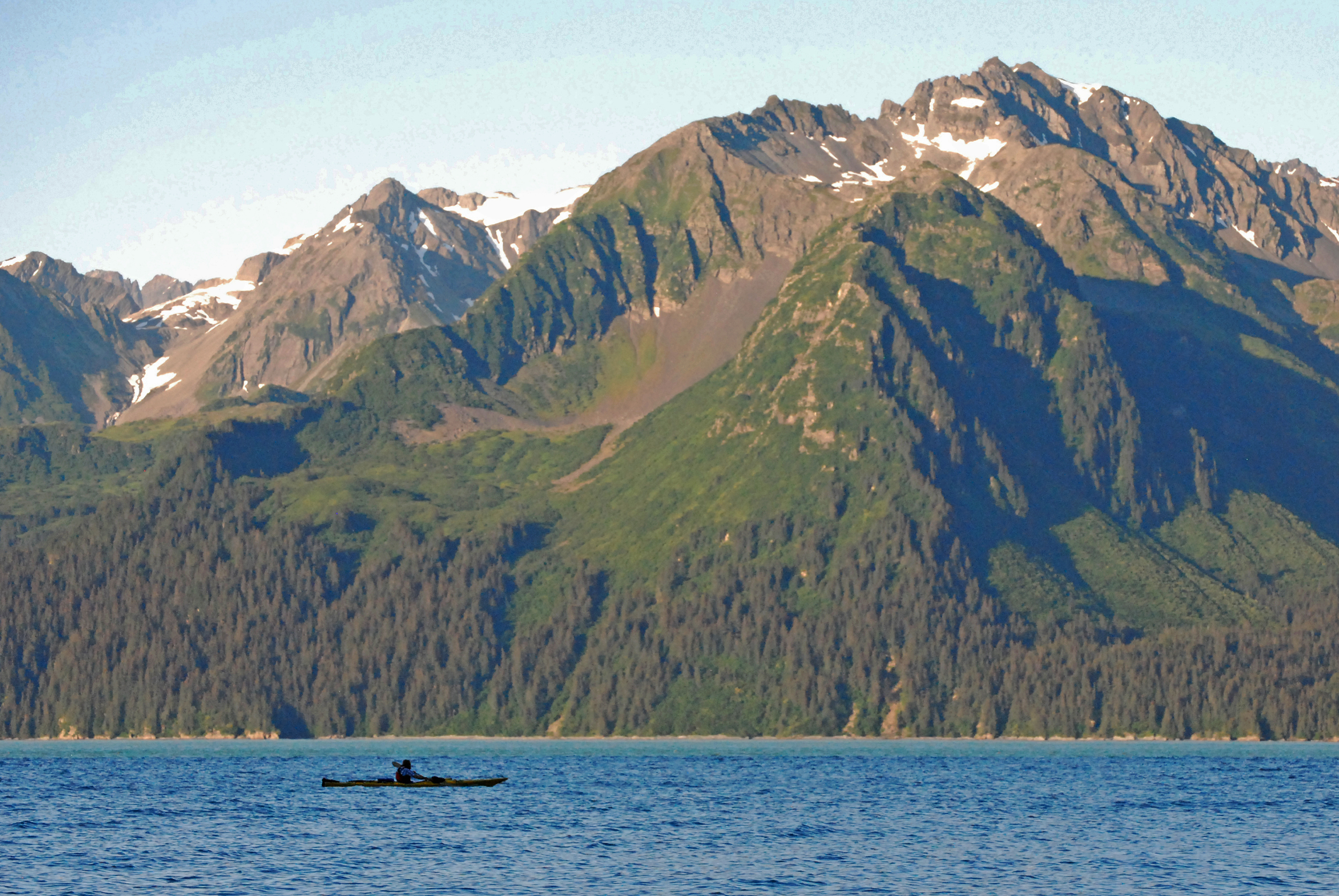 Kayaker in Resurrection Bay Seward Alaska USA