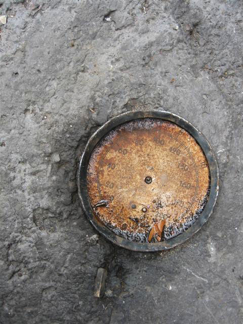 """Scale into the cement (Downtown, Mexico City), 2008. From the series """"Found Objects""""."""
