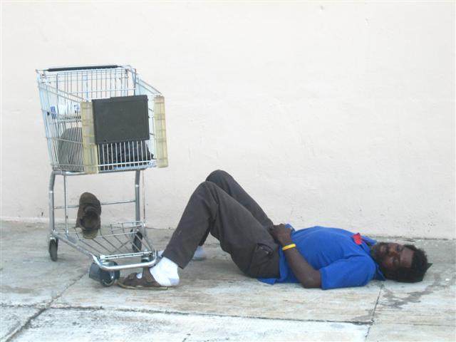 Cart with Homeless (Wynwood, Miami, FL.), 2008. From the series 'Found Objects'.