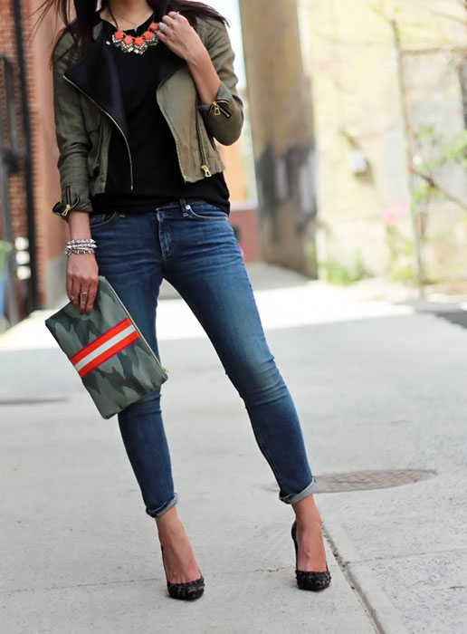 Rag and Bone Jeans, Rag and Bone T-Shirt, C. Wonder Camo Clutch, Zara Jacket, Schutz Pumps