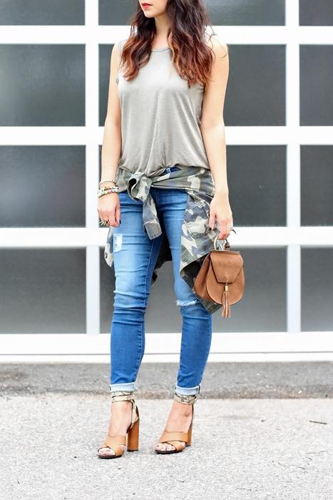 Camo Shirt; Gucci Sandals; AG Jeans