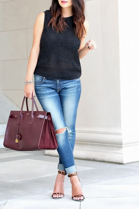 Sleeveless top with jeans & heels outfit