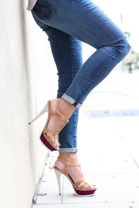 Highs heels & skinny jeans outfit