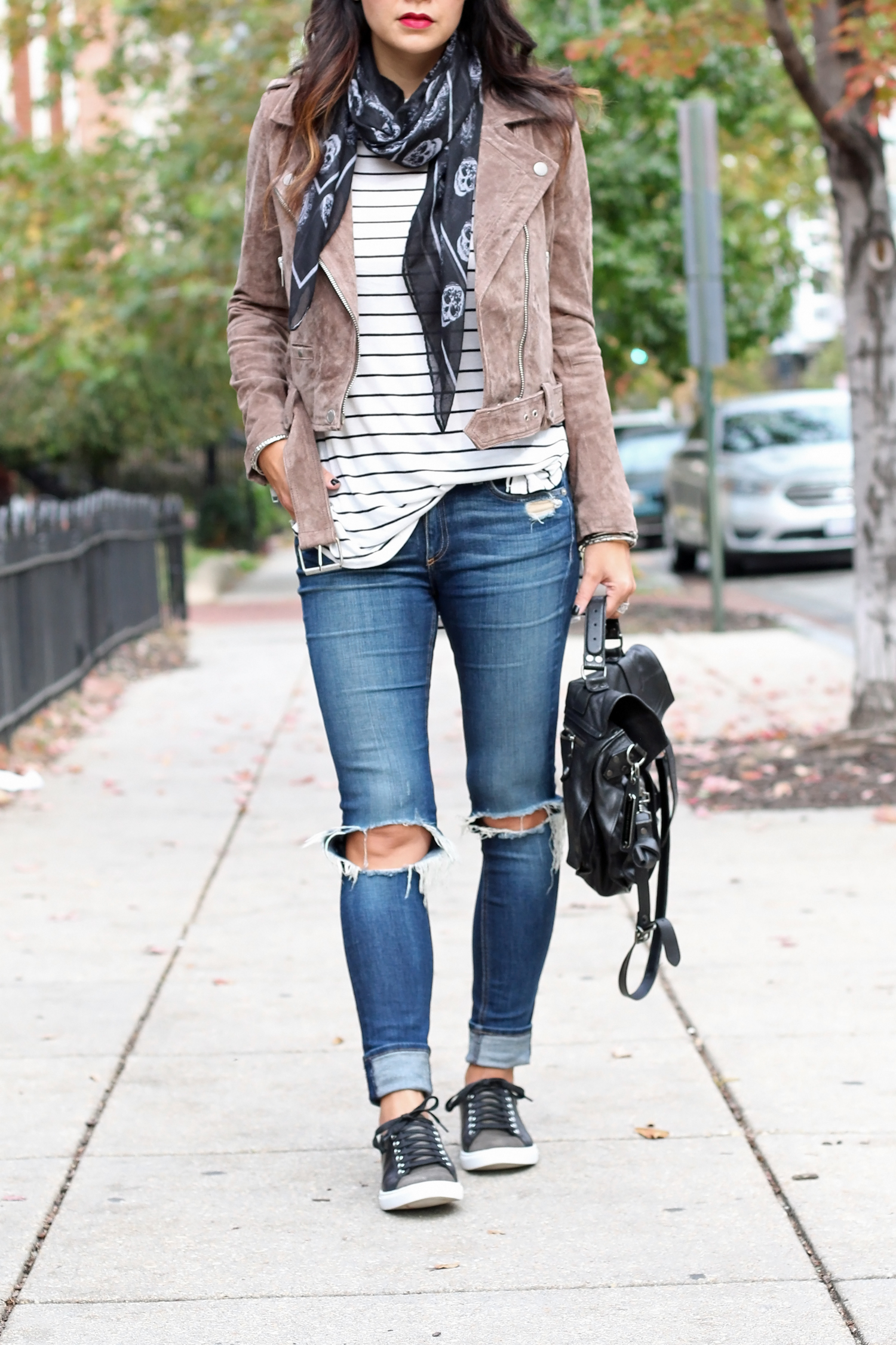 Sneaker and Leather Jacket Outfit