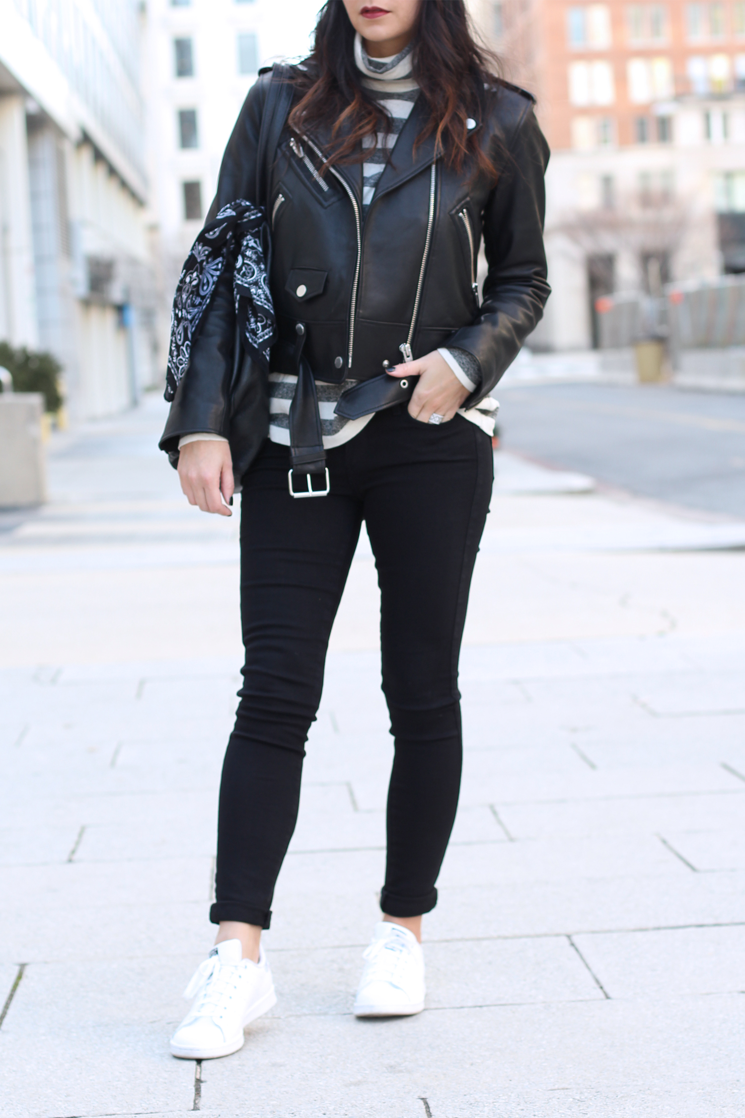 Leather Jacket and White Sneaker Outfit