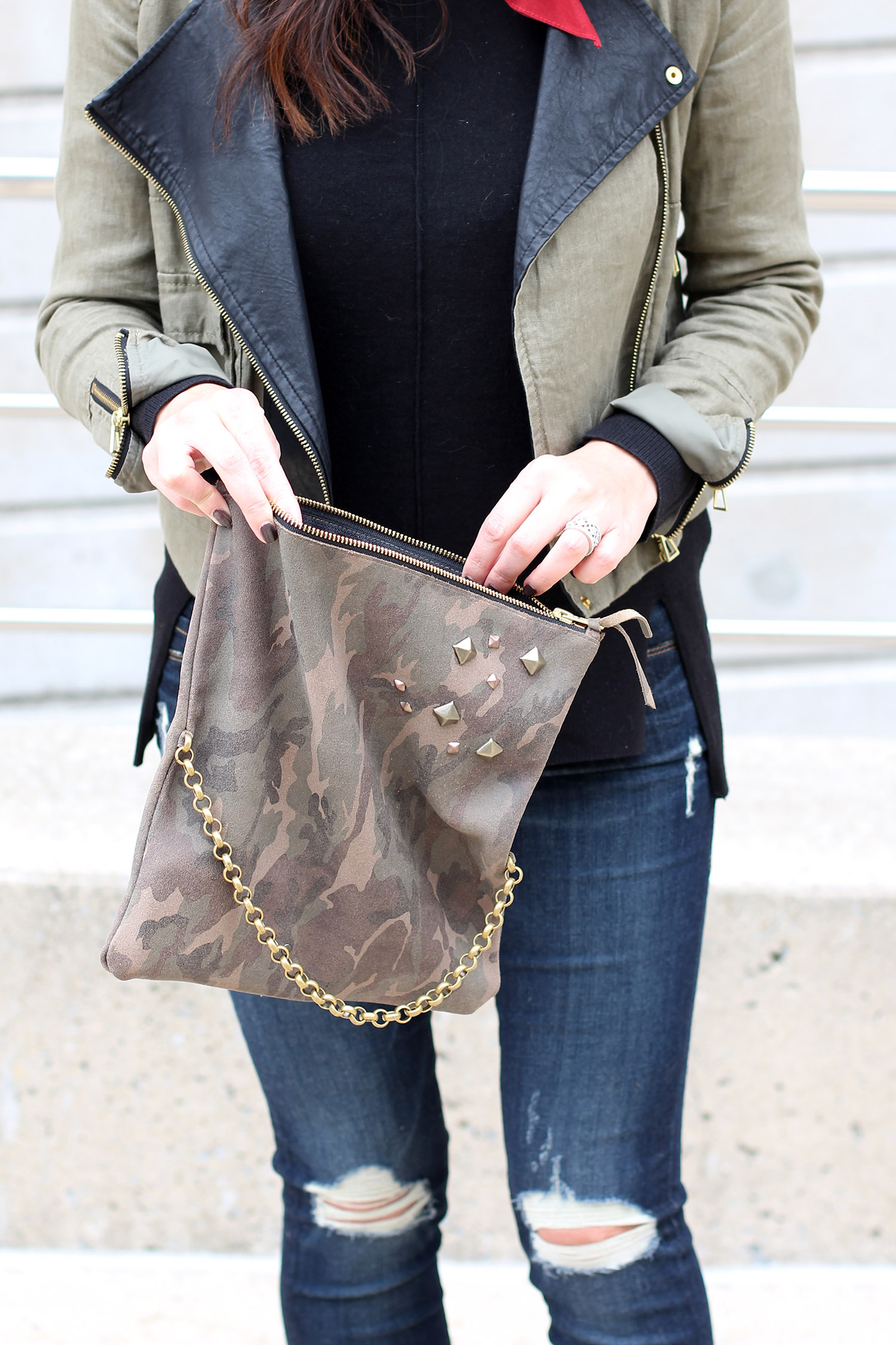 Camo Clutch Leather Couture