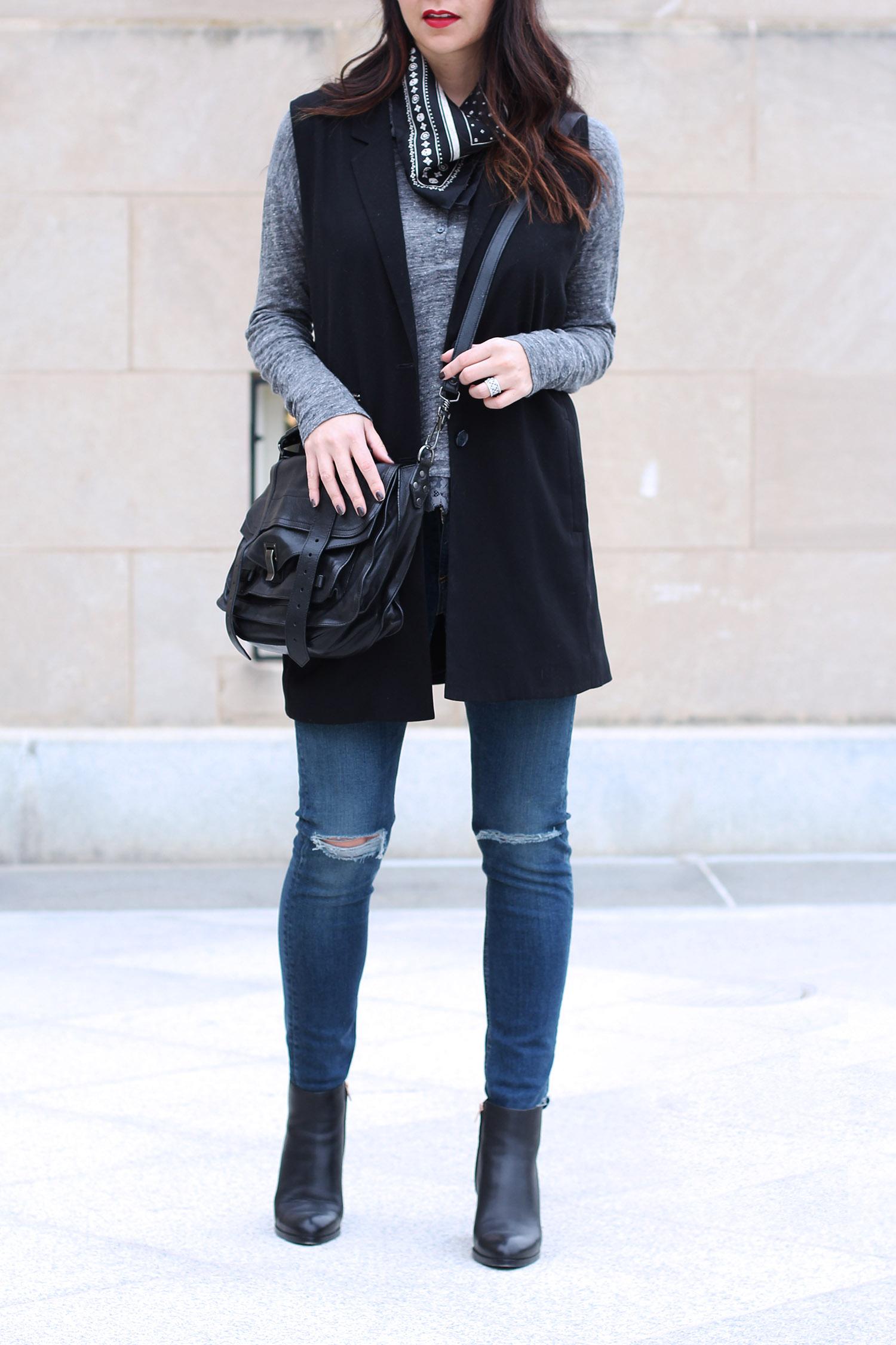 Proenza Schouler PS1 Satchel, Dust Vest Outfit