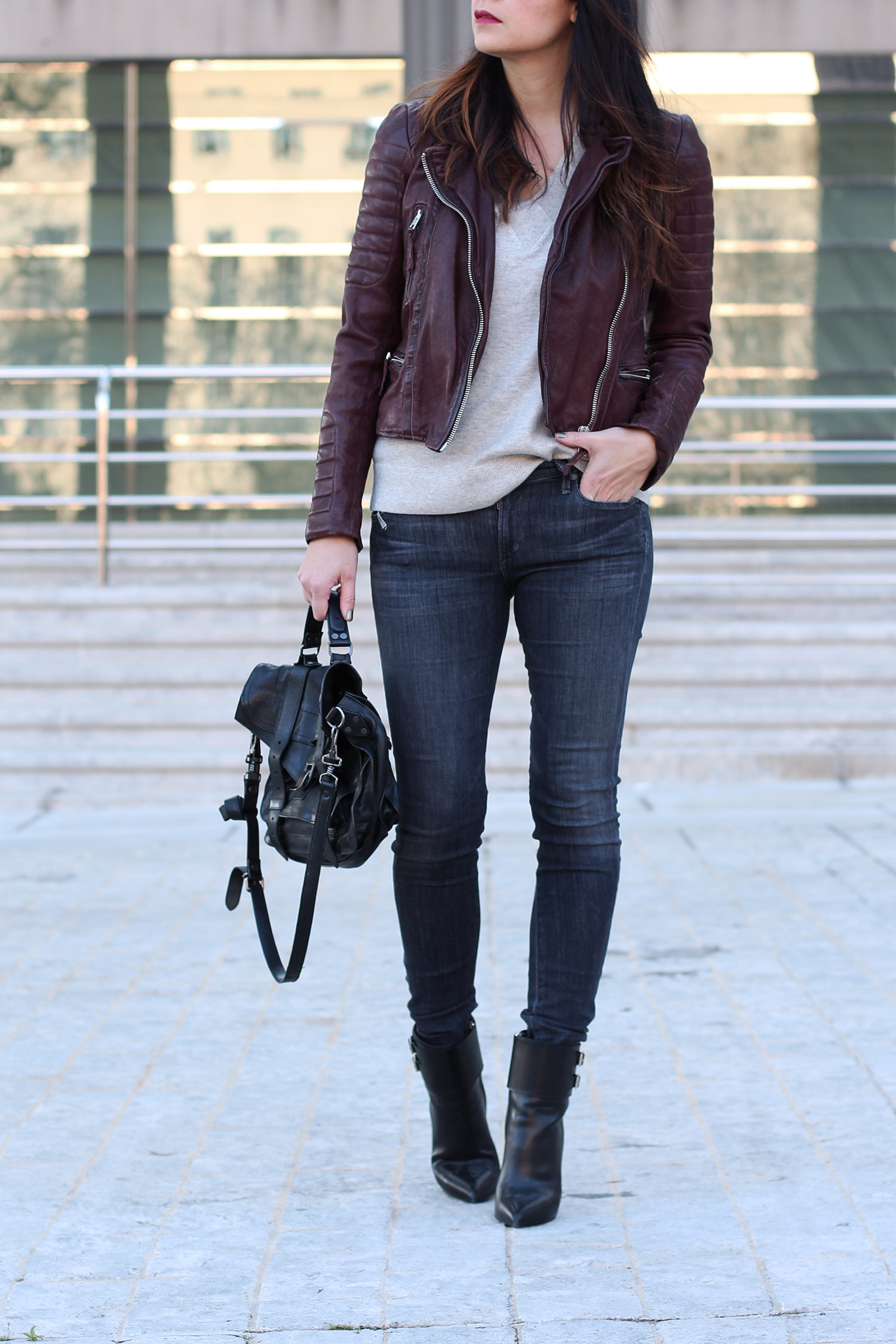 Burgundy Moto Jacket, Citizens for Humanity Jeans
