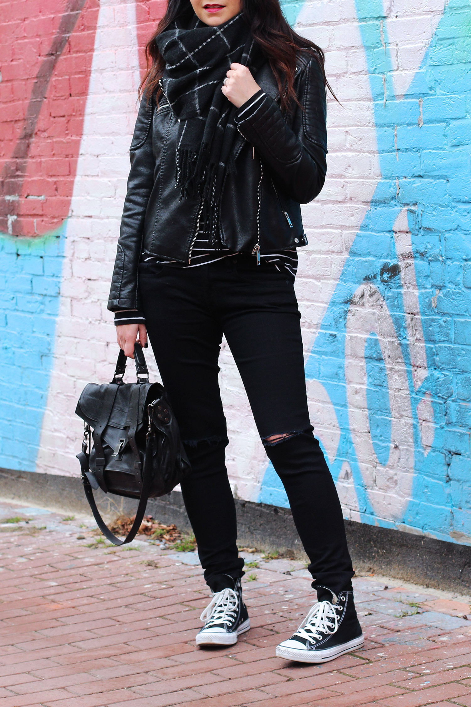Converse, Ripped Jeans, Zara Jacket