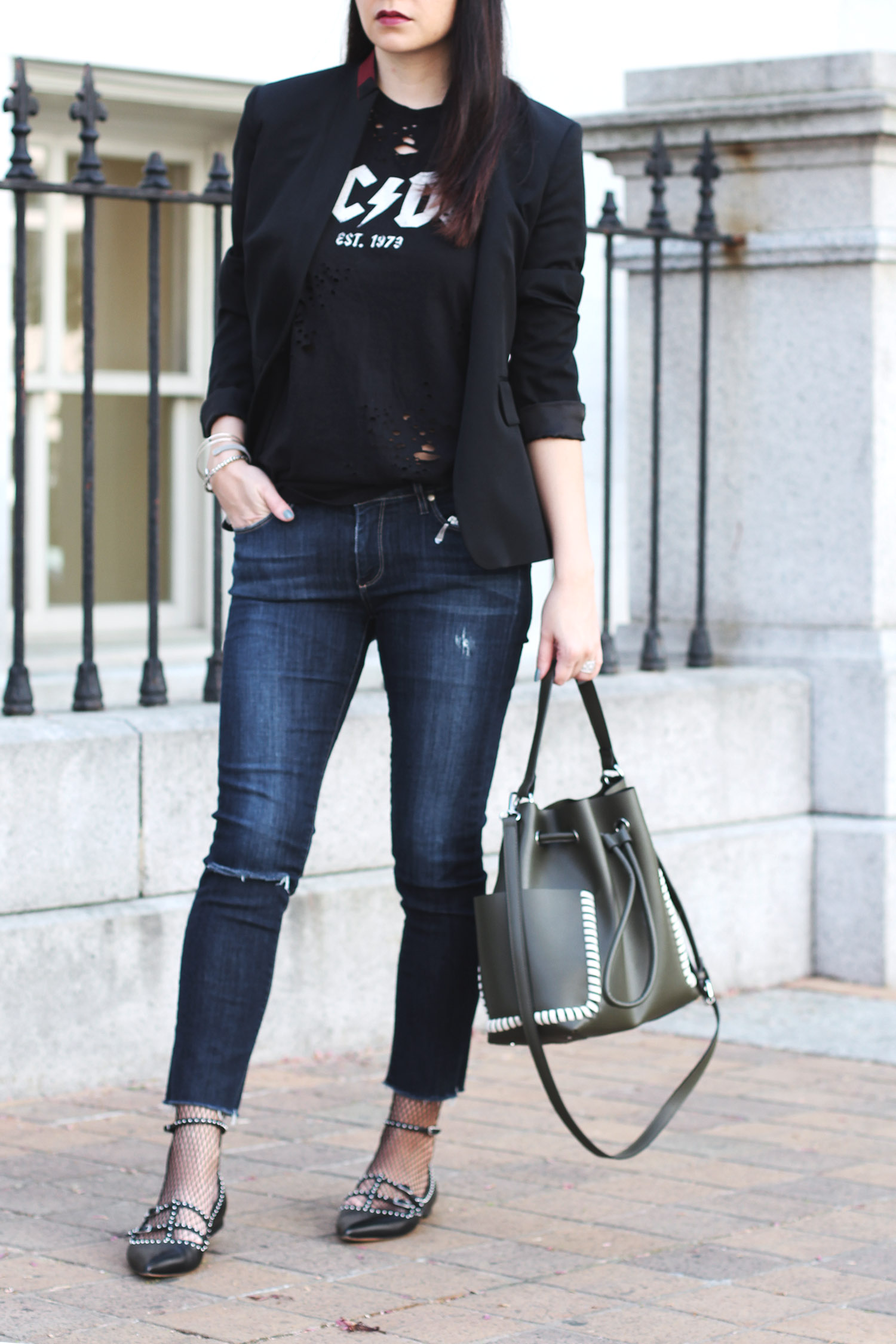 Graphic T-Shirt Look, Givenchy Flats, Rag and Bone Blazer