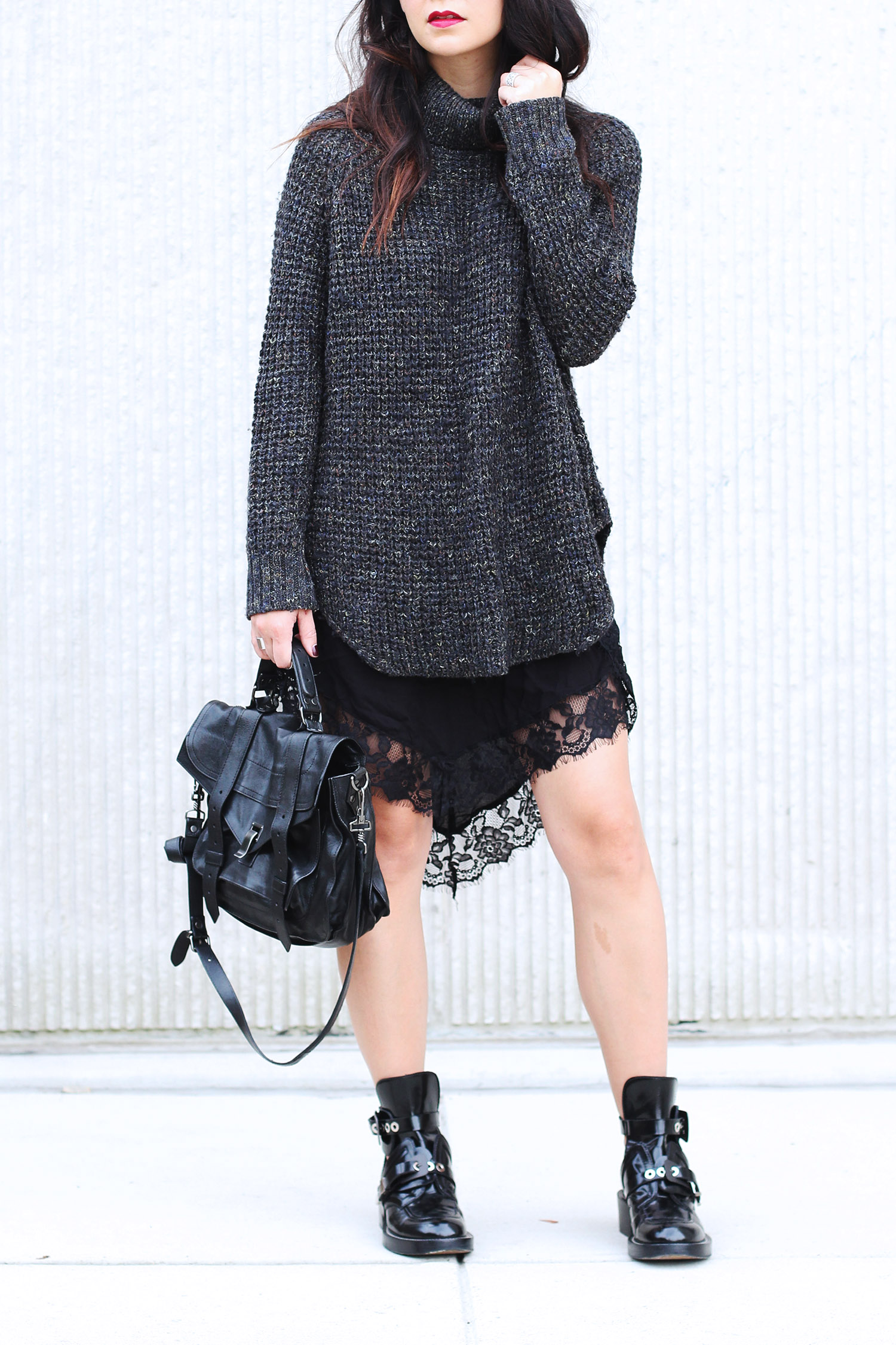 Lace slip dress under a sweater, Moto Boots