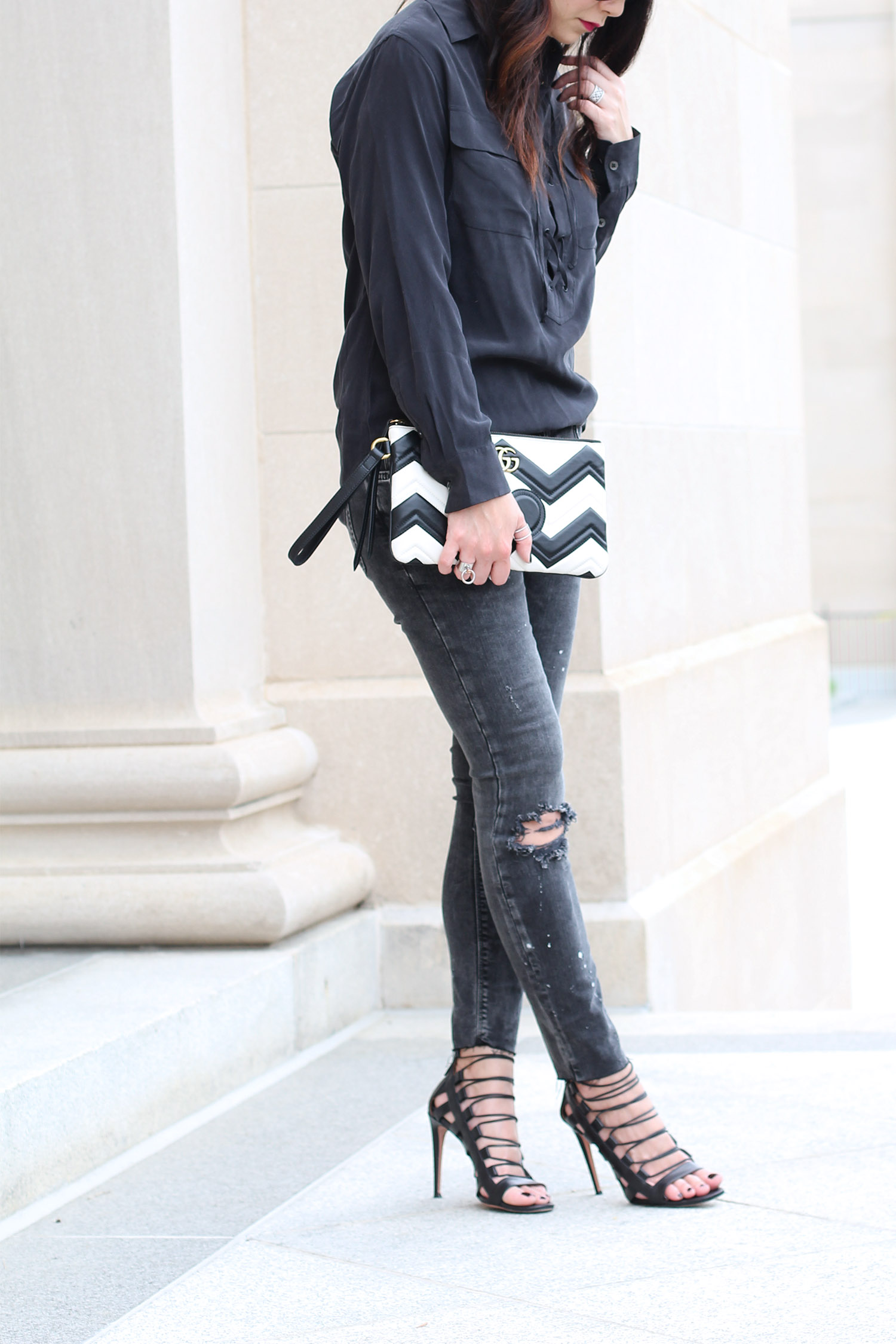 Silk blouse with distressed jeans