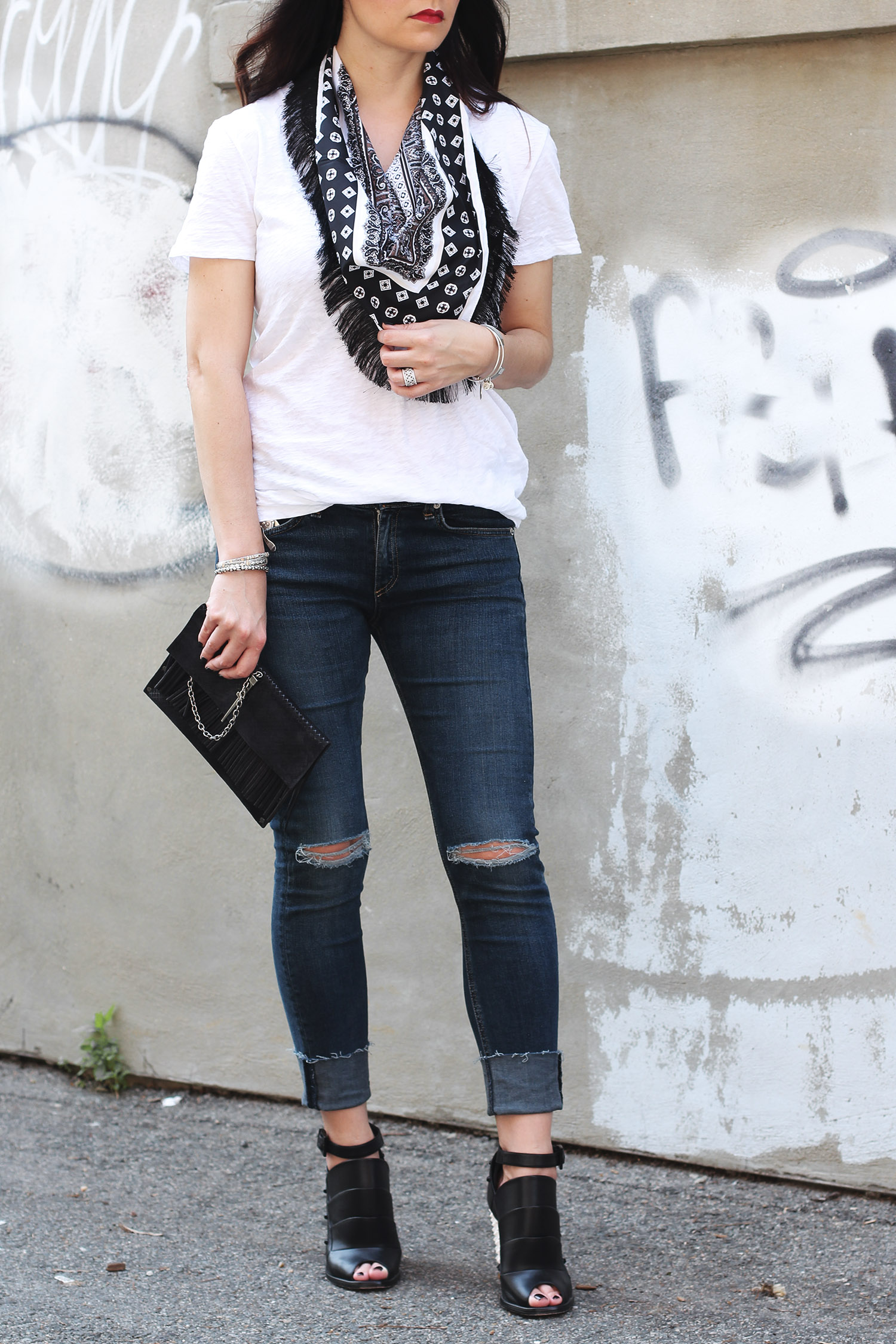 Layered Fringe Neck Scarf, White T-Shirt Style