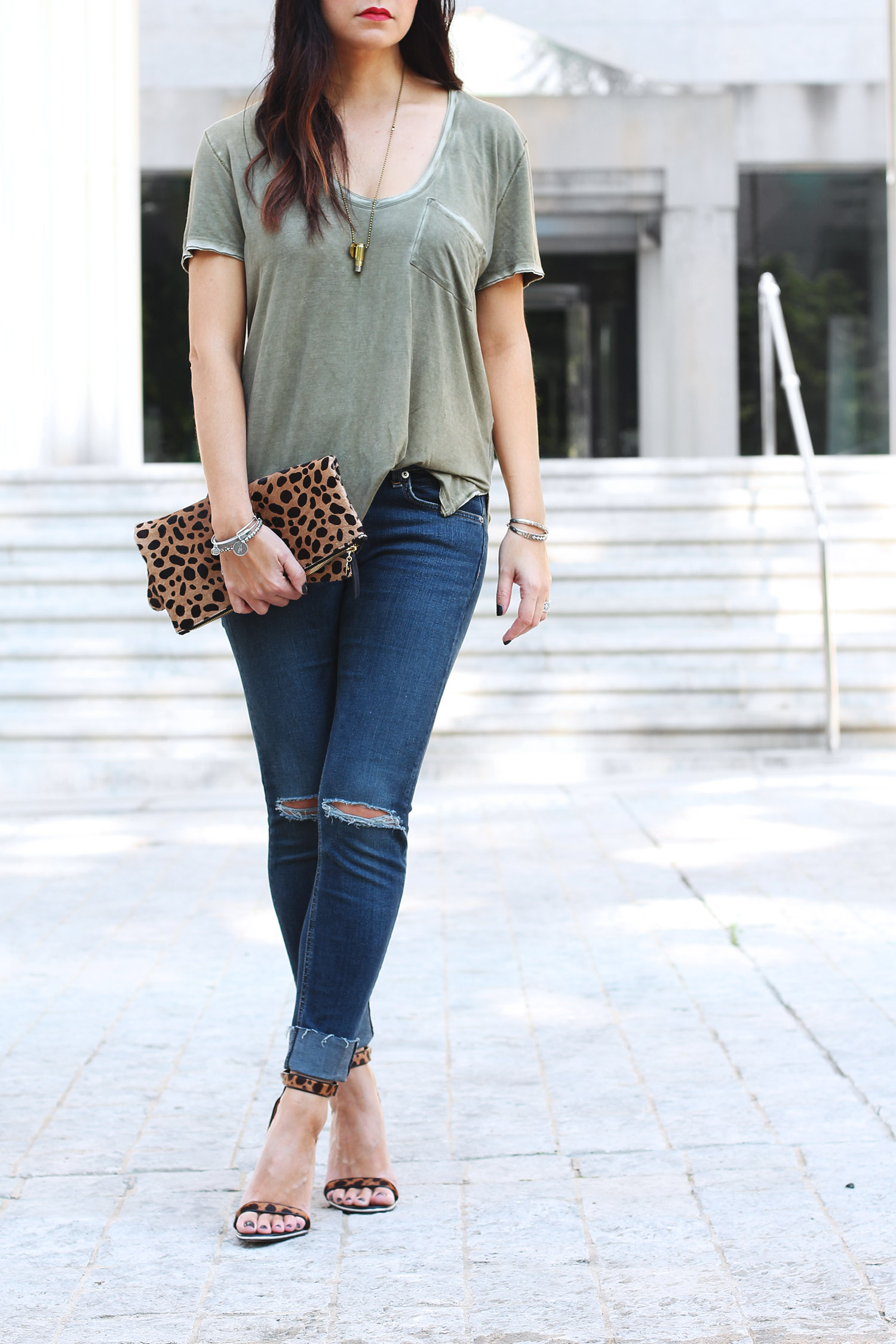 Raw Hem Jeans, Olive Green T-Shirt, Leopard Clutch