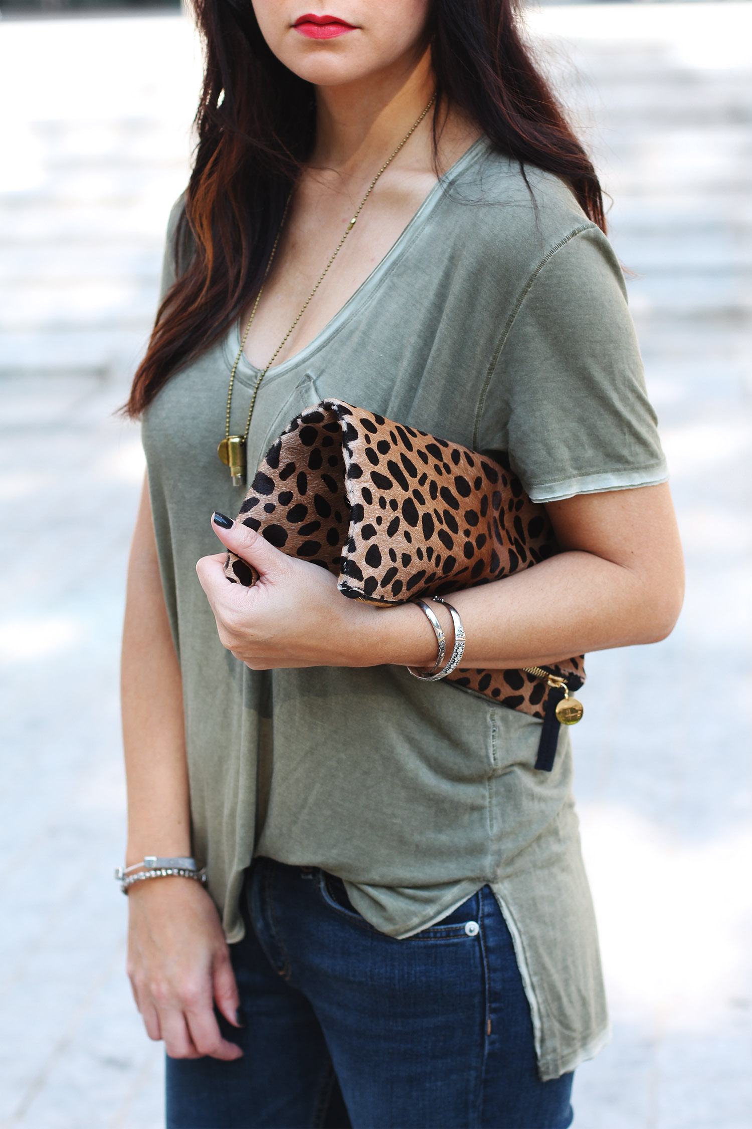 Free People T-Shirt, Clare V. Foldover Clutch