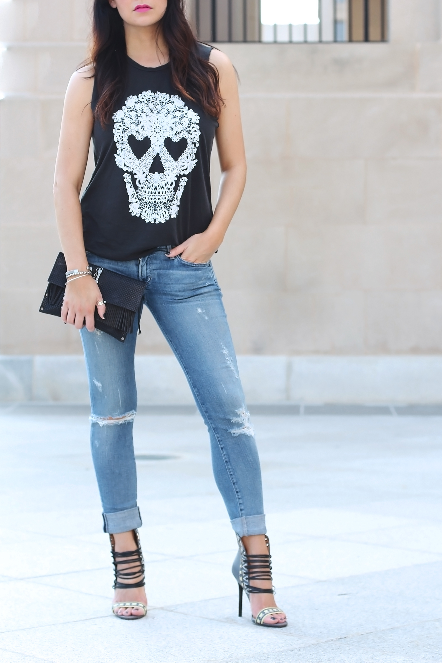 Distressed Jeans and Heels Outfit