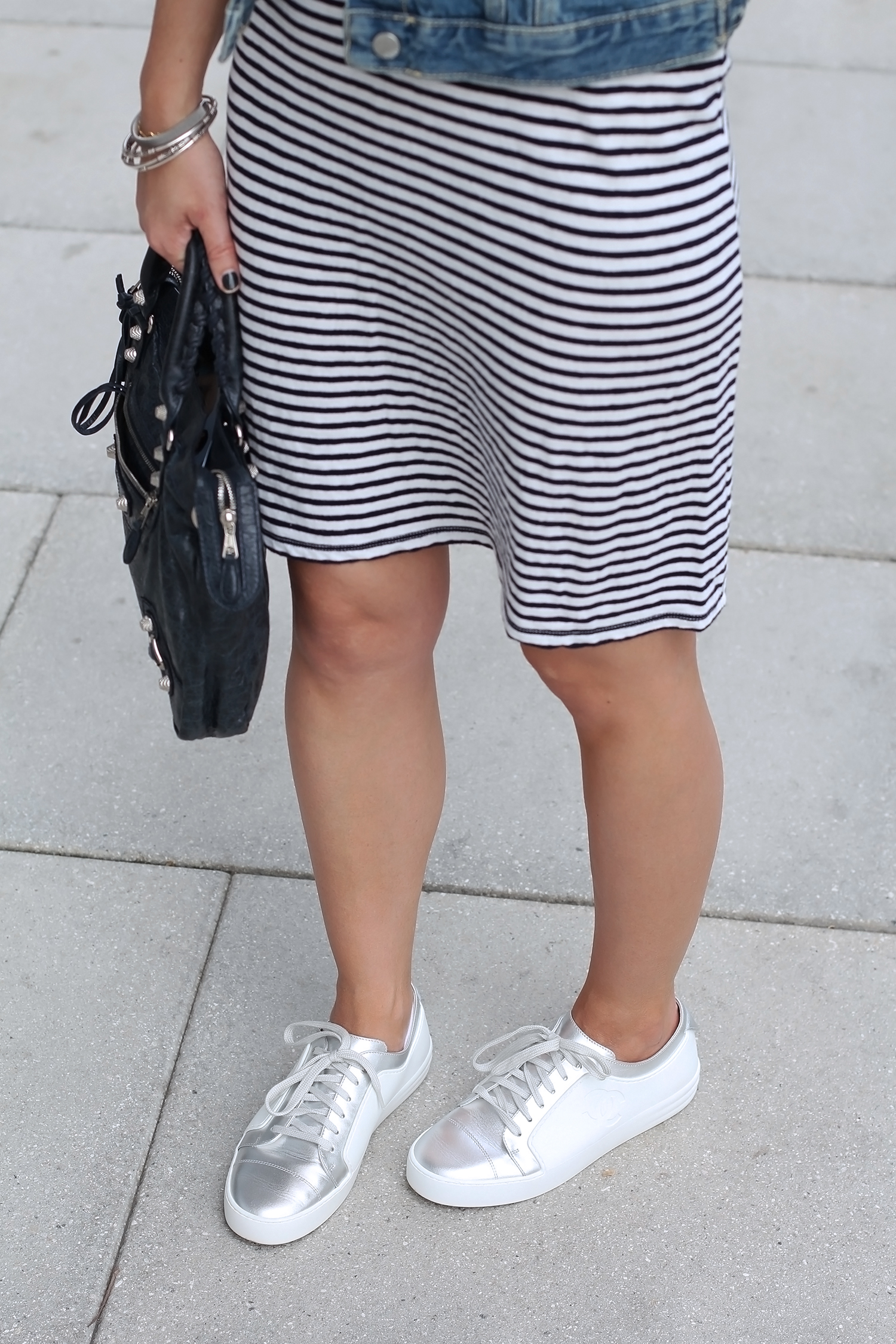 Chanel White and Silver Sneakers