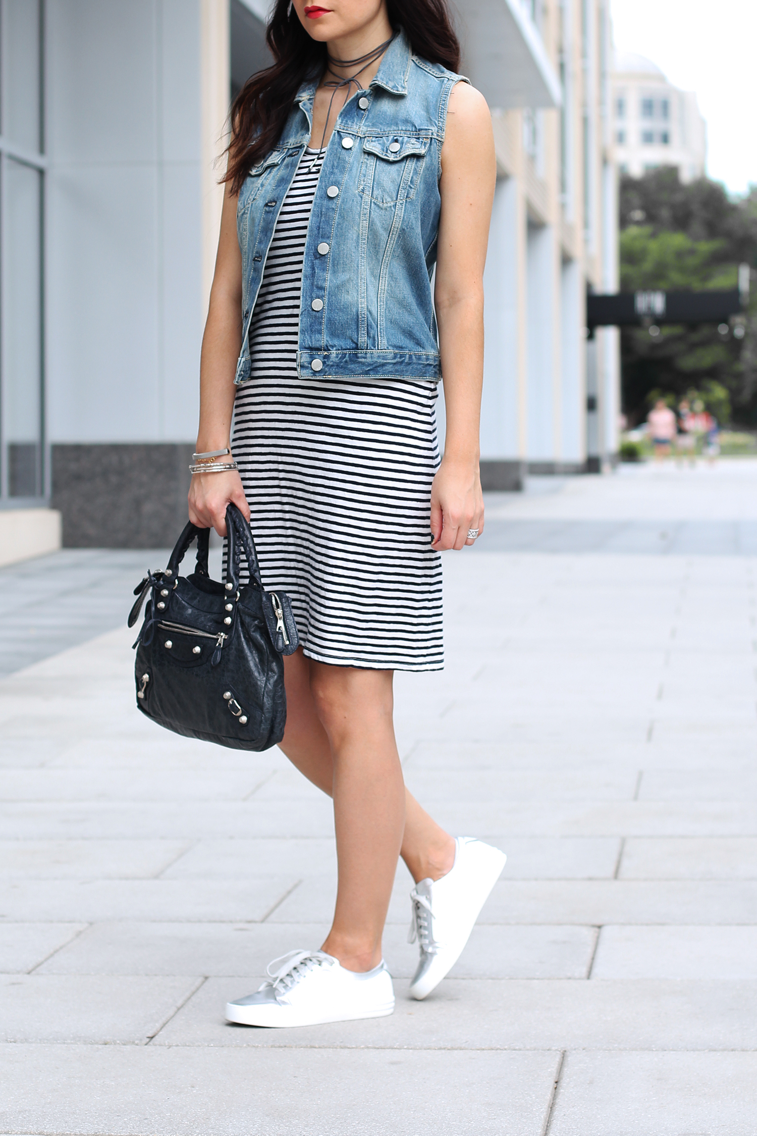 Denim Vest over a Dress, Striped Cotton Dress