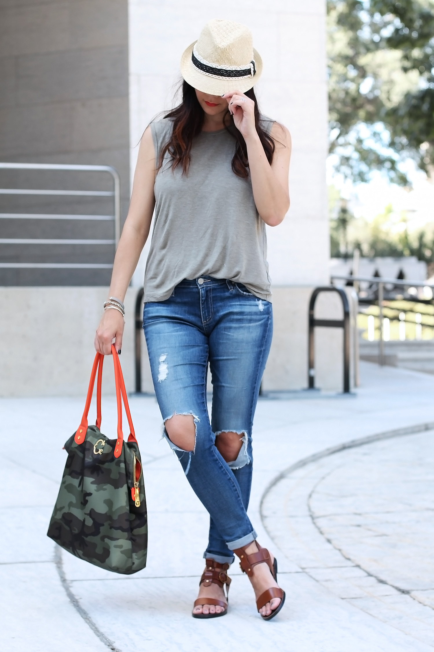 Zara Sandals, AG Jeans, Anthropologie Hat, C. Wonder Tote