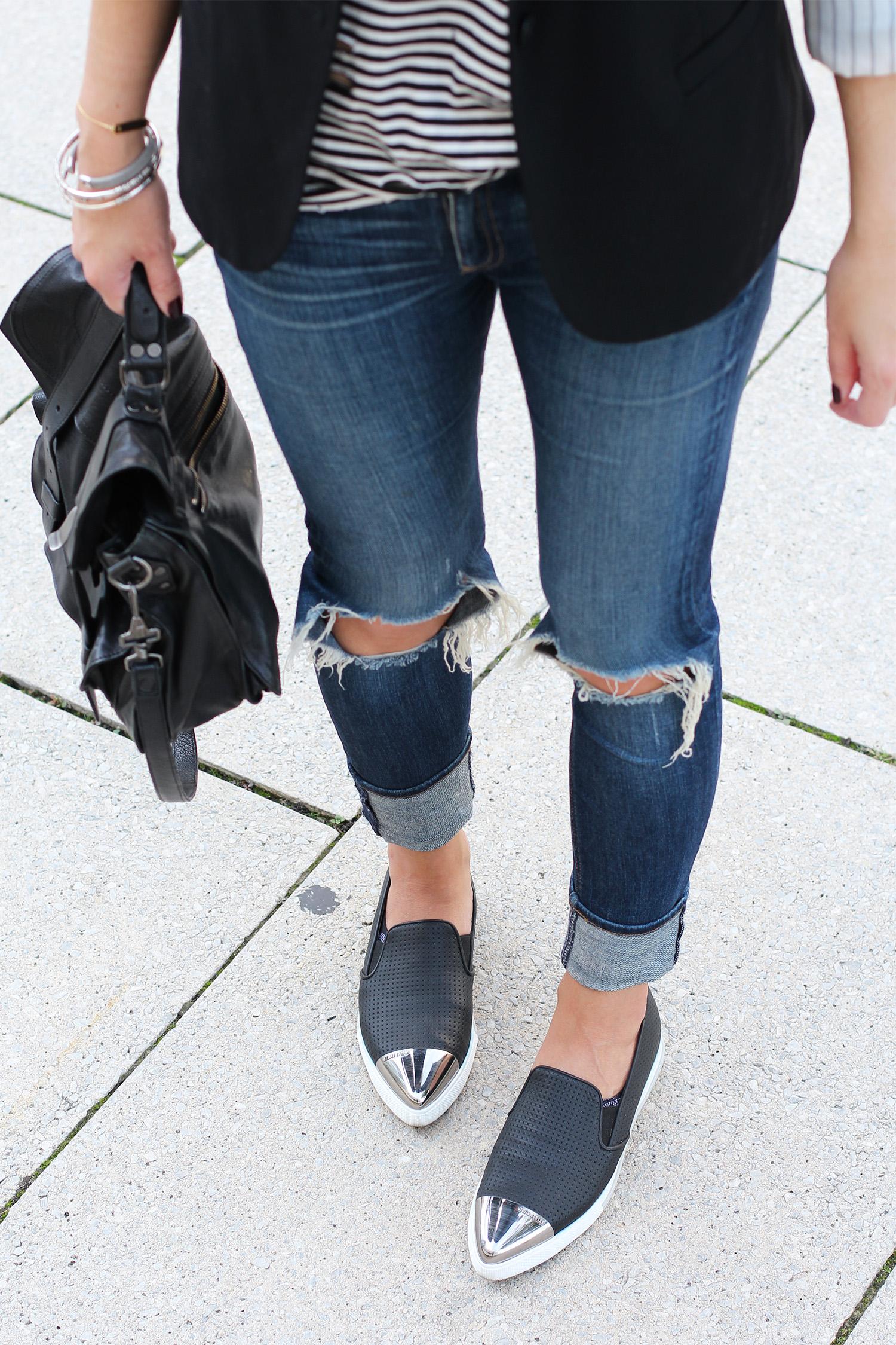 Miu Miu Cap Toe Sneakers, Leather Slip On Sneakers