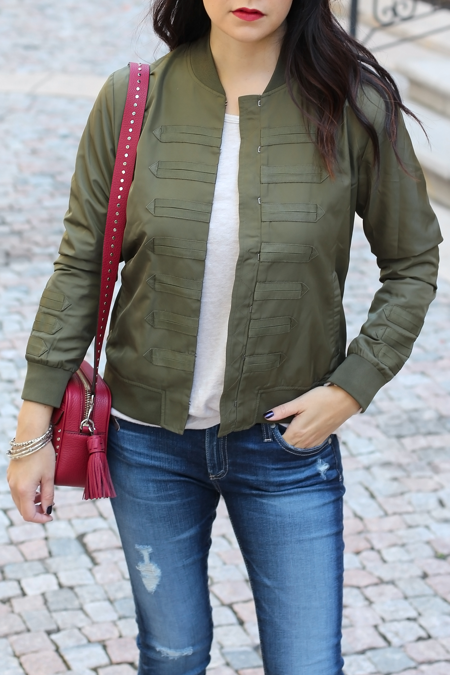 Olive Green Bomber Jacket Outfit