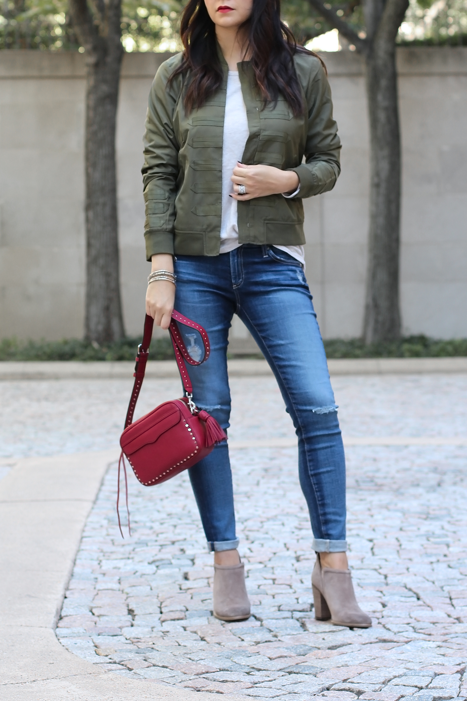 Bomber Jacket Outfit, Distressed Jeans with Ankle Boots Outfit