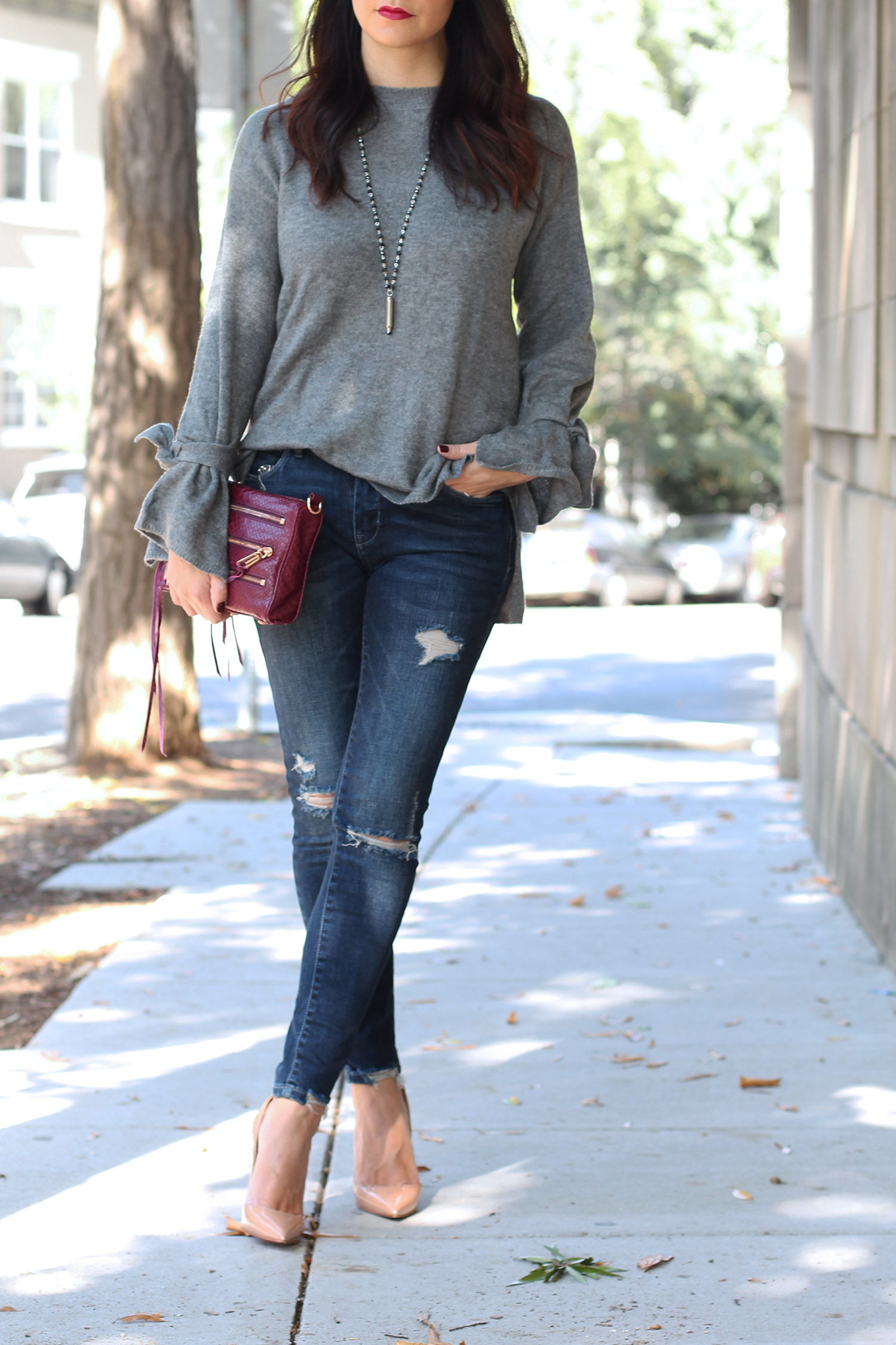 Blank NYC Distressed Jeans, Christian Louboutin So Kate, Ammo Necklace