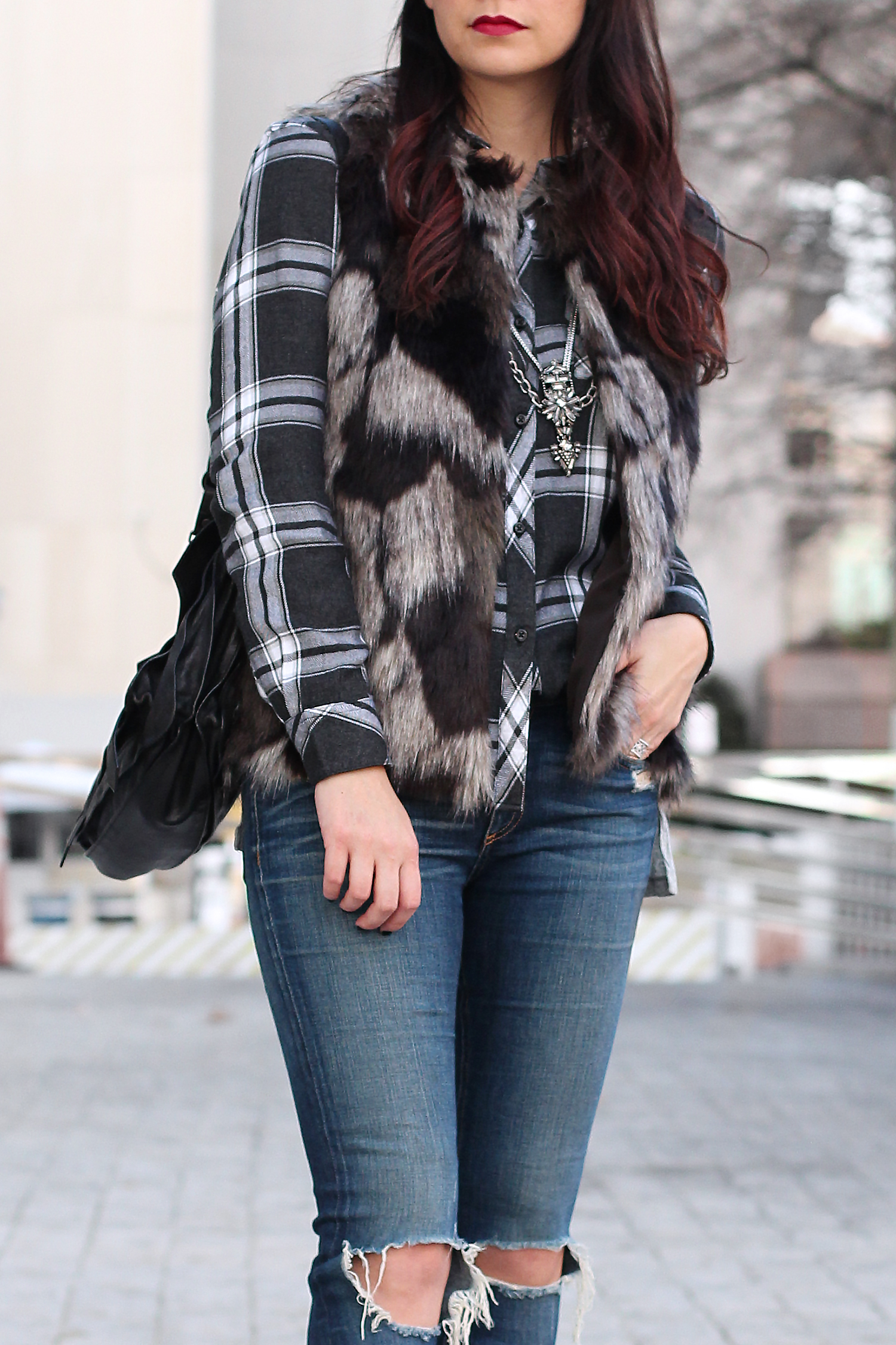 Plaid Flannel Shirt and Fur Vest Outfit