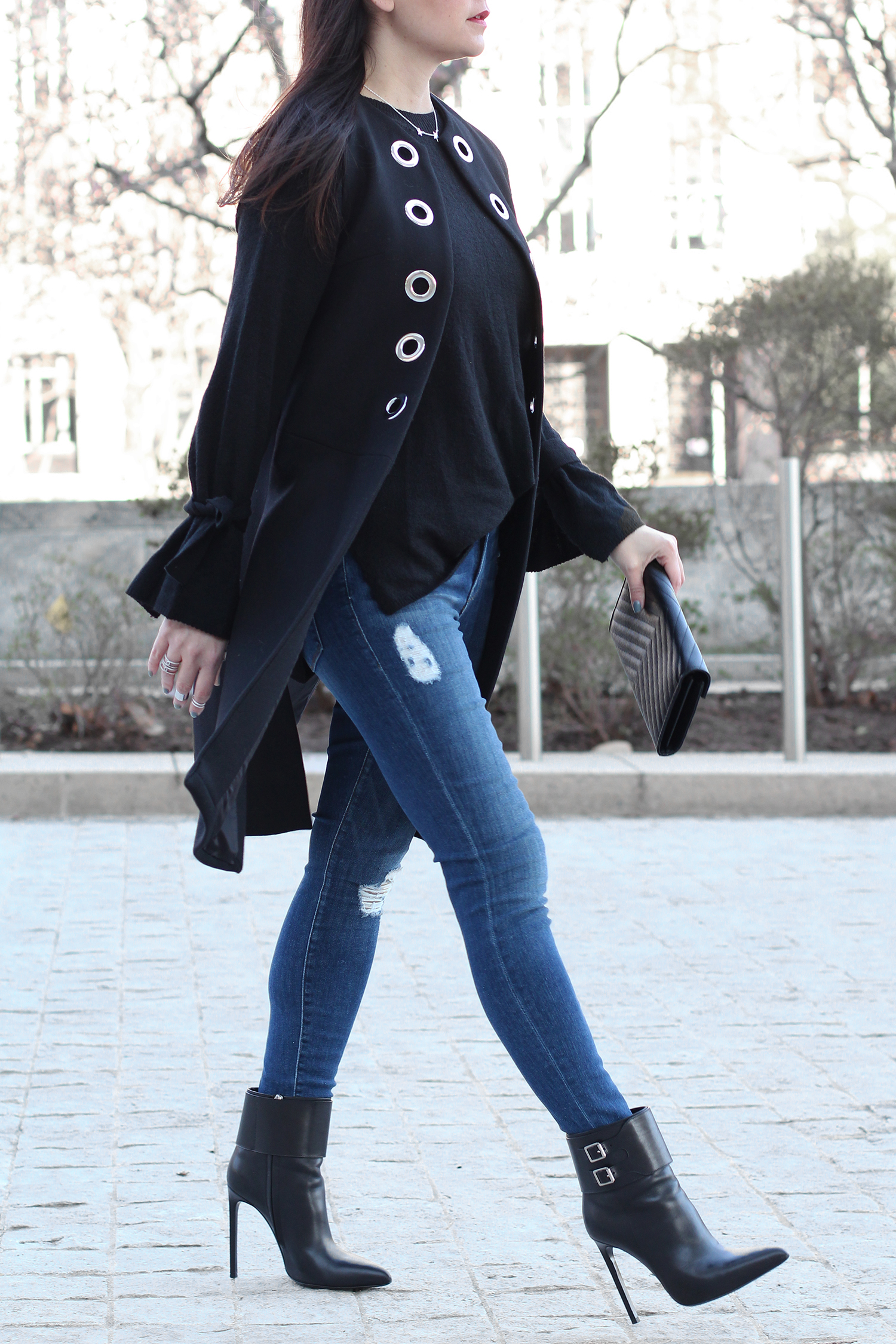 Bow Sleeve Sweater, Distressed Jeans Outfit