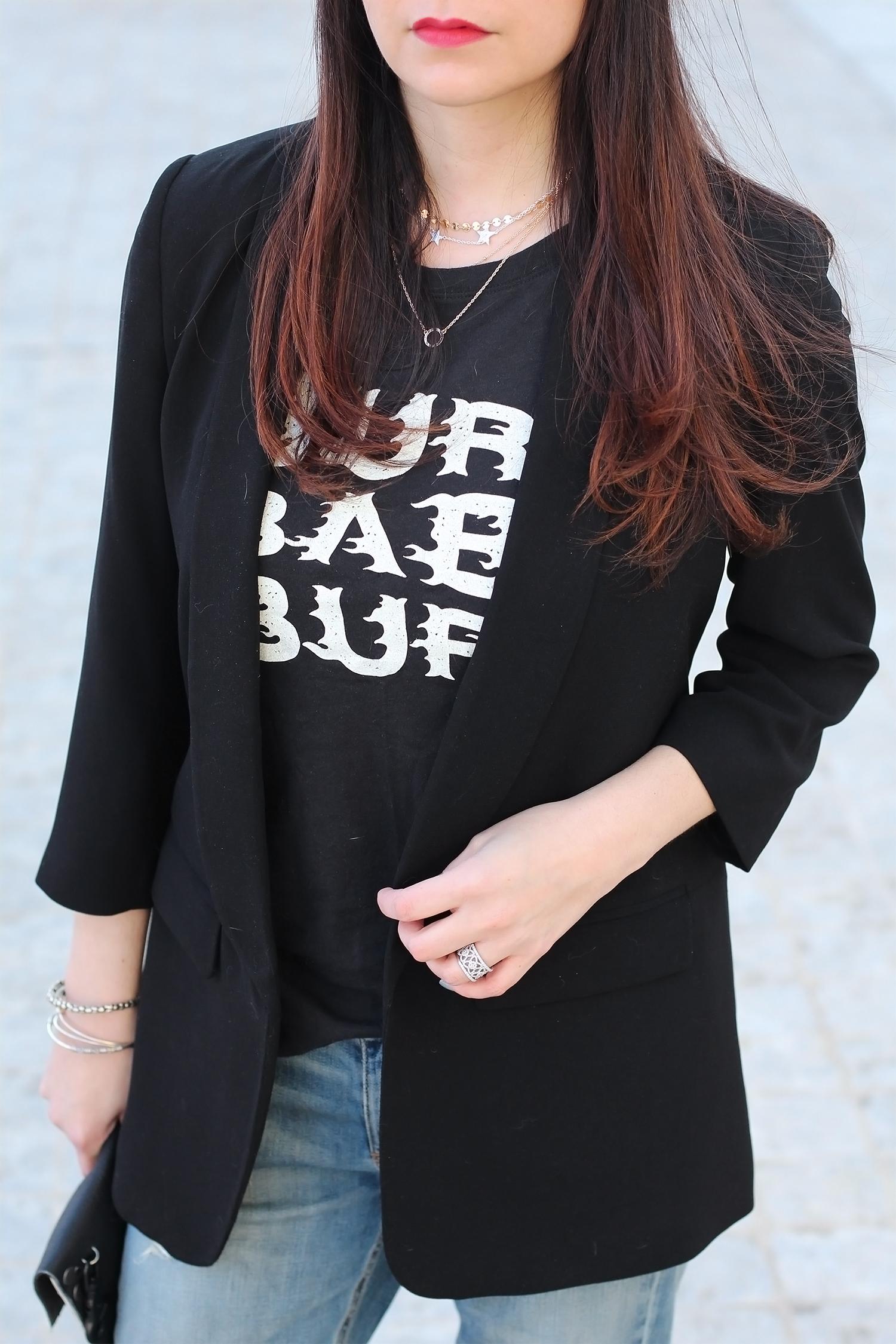 Blazer and Graphic Tee Shirt