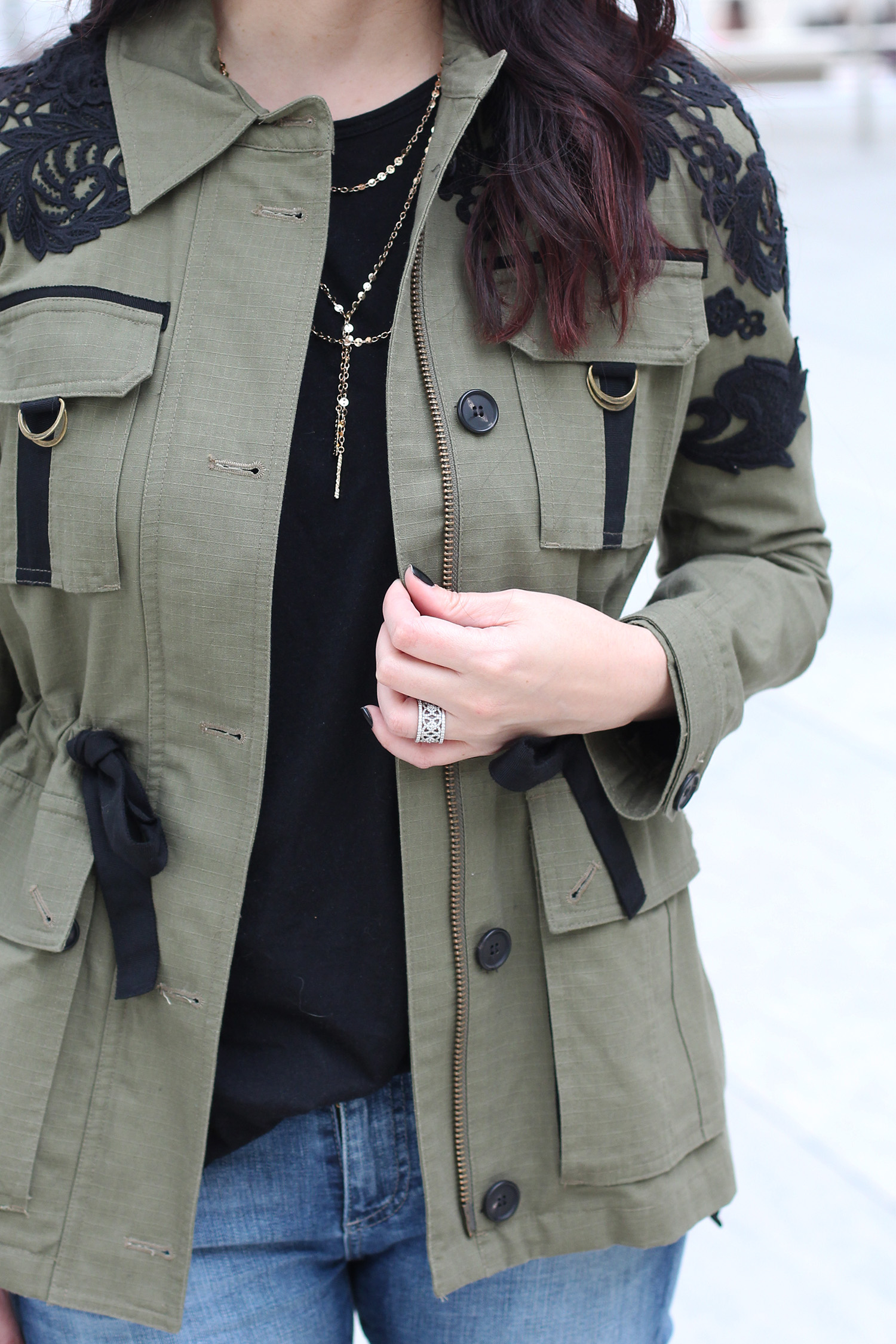 Olive Green and Lace Jacket