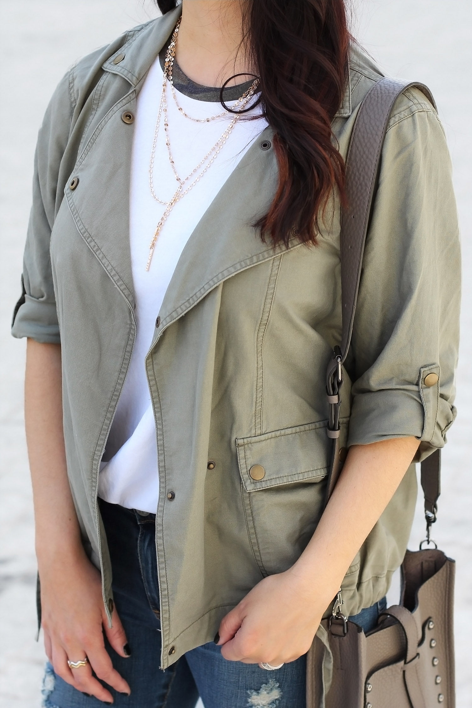Waterfall jacket, Bauble Bar layered necklace