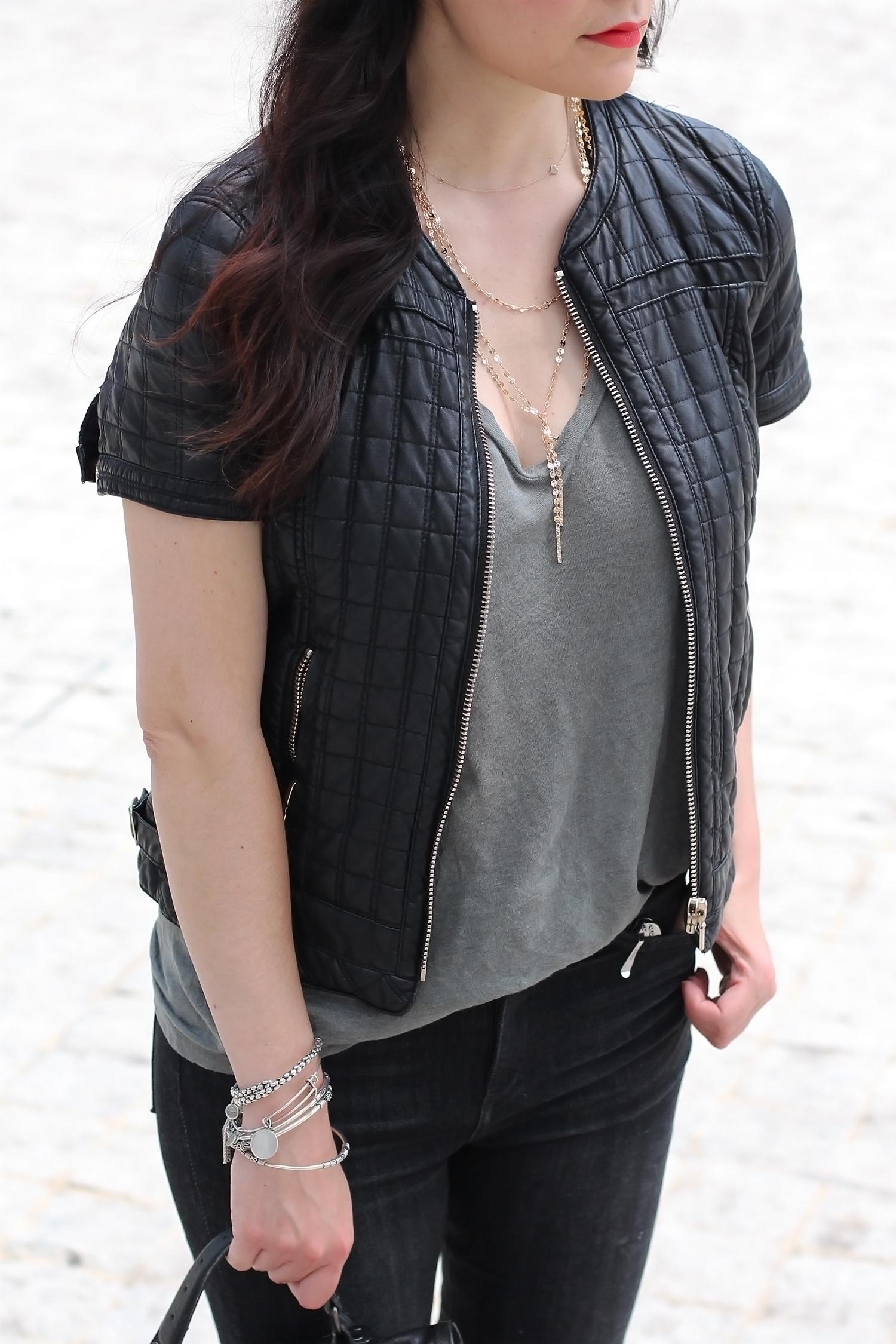 Short Sleeve Faux Leather Jacket