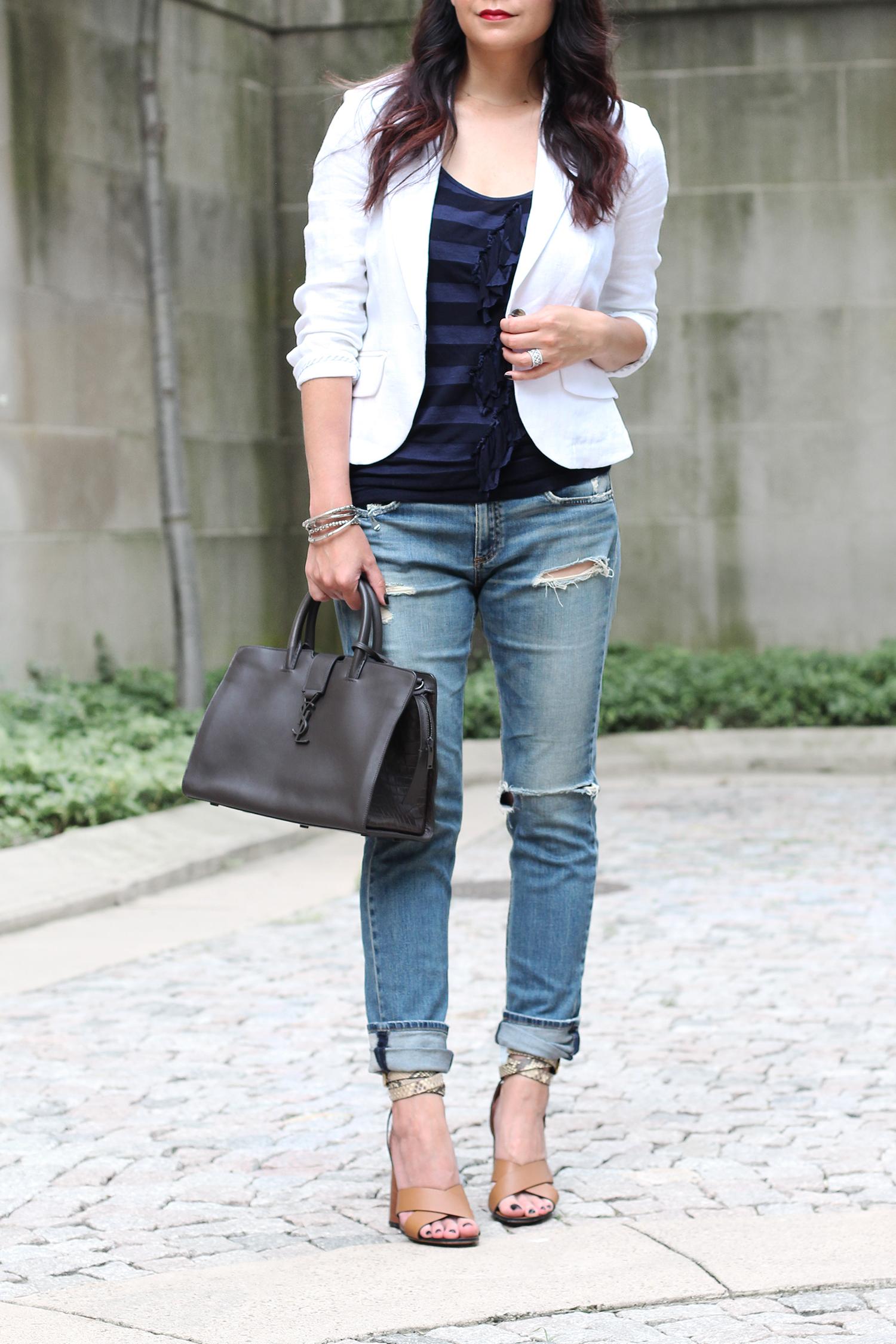 Boyfriend Jeans, White Blazer Outfit