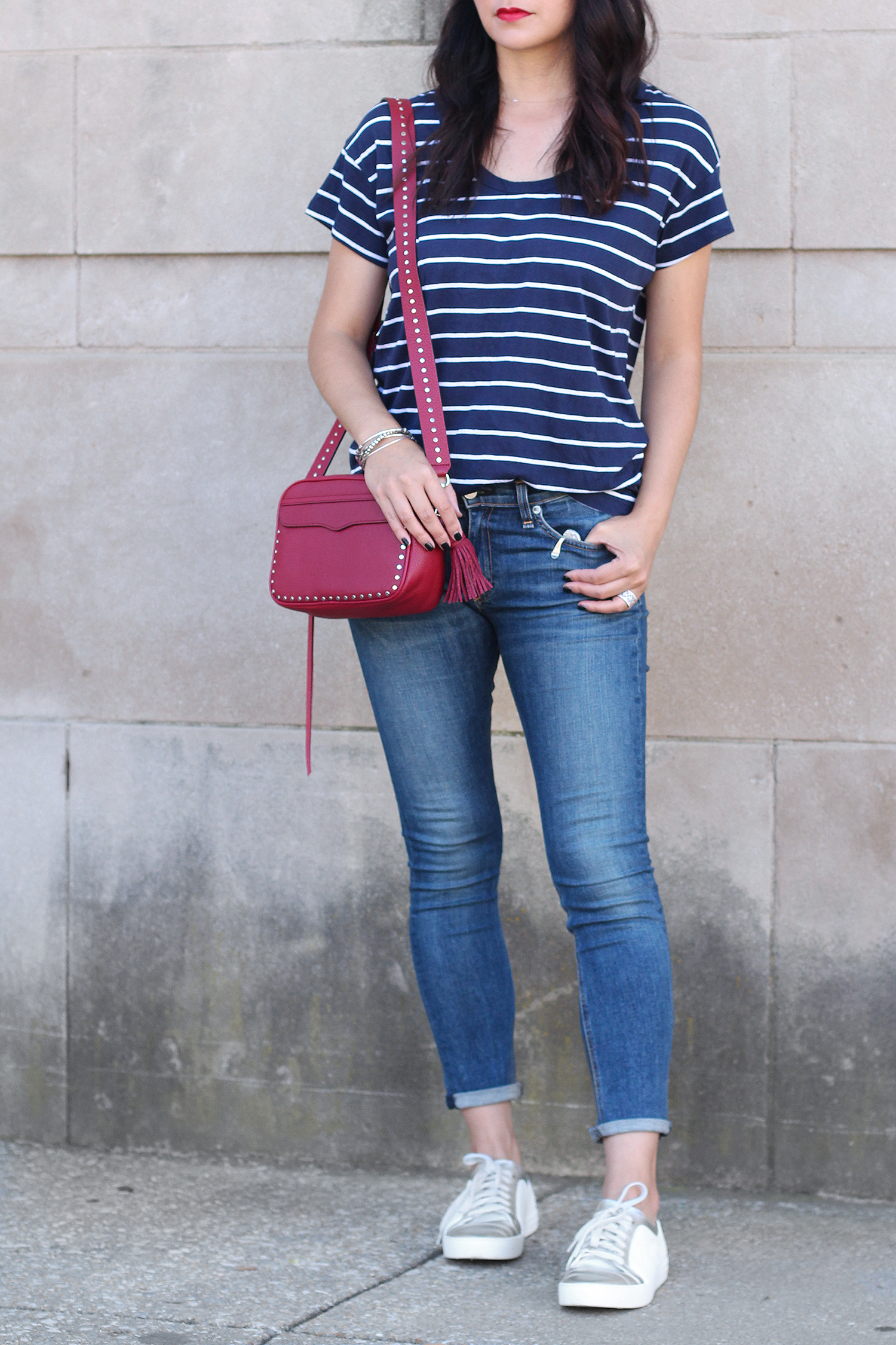 Red, White, Blue Outfit, Blue Striped Shirt, Chanel Shoes