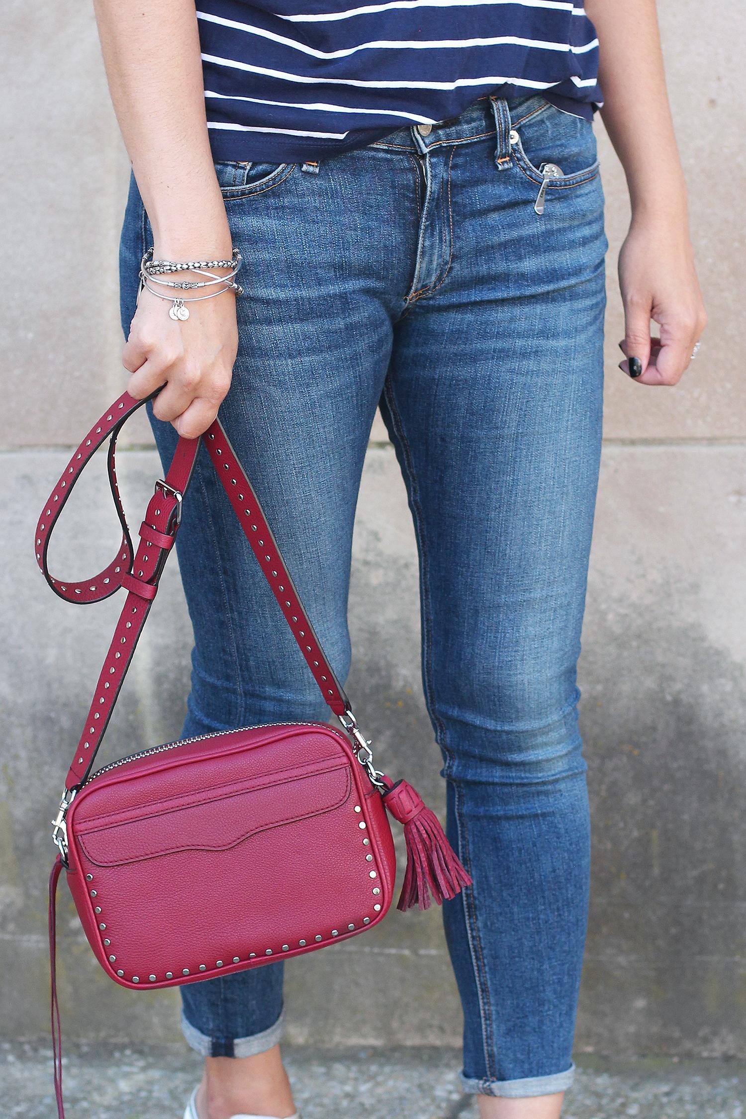 Red Crossbody Bag, Rag and Bone Jeans