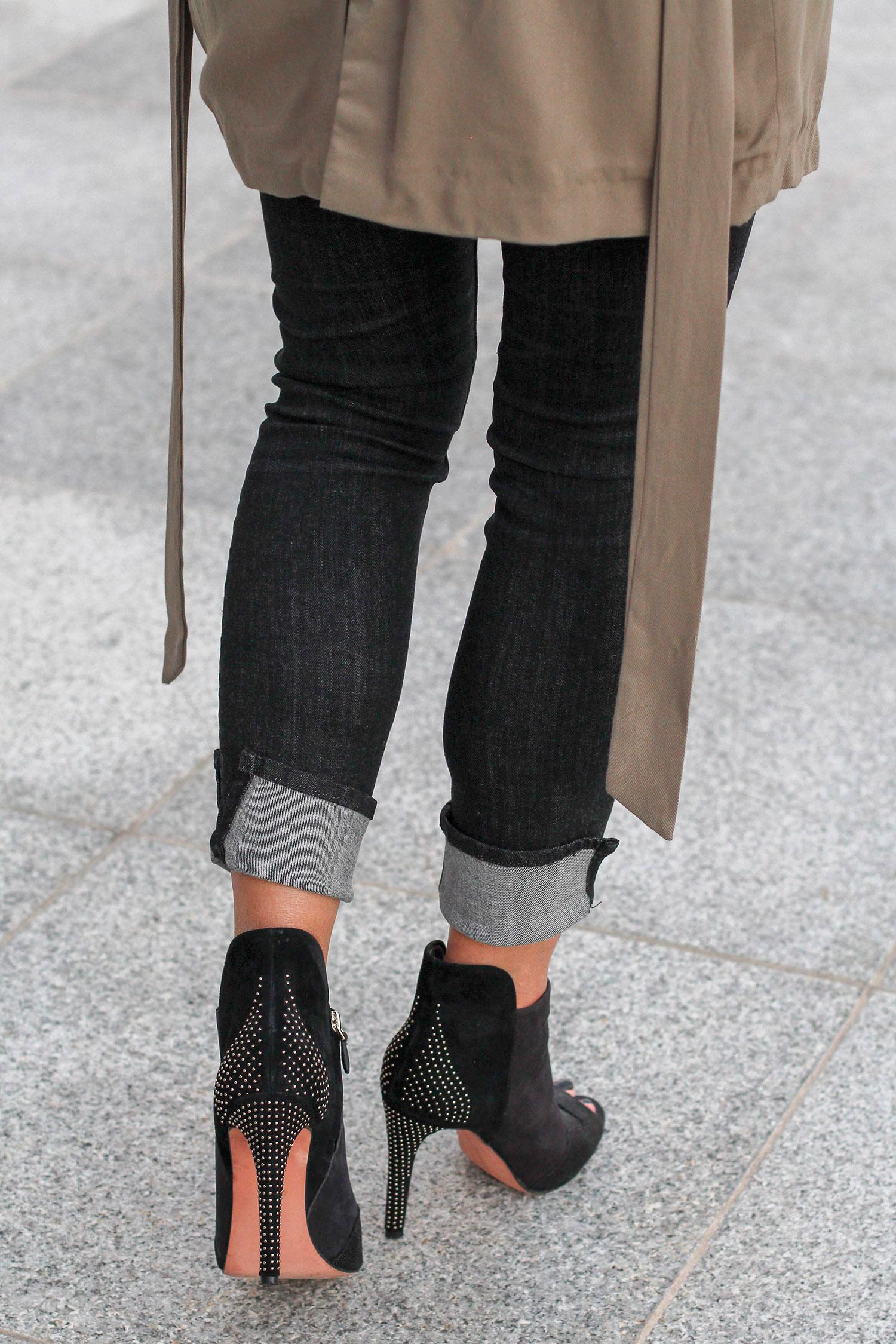 Studded Heel Ankle Booties