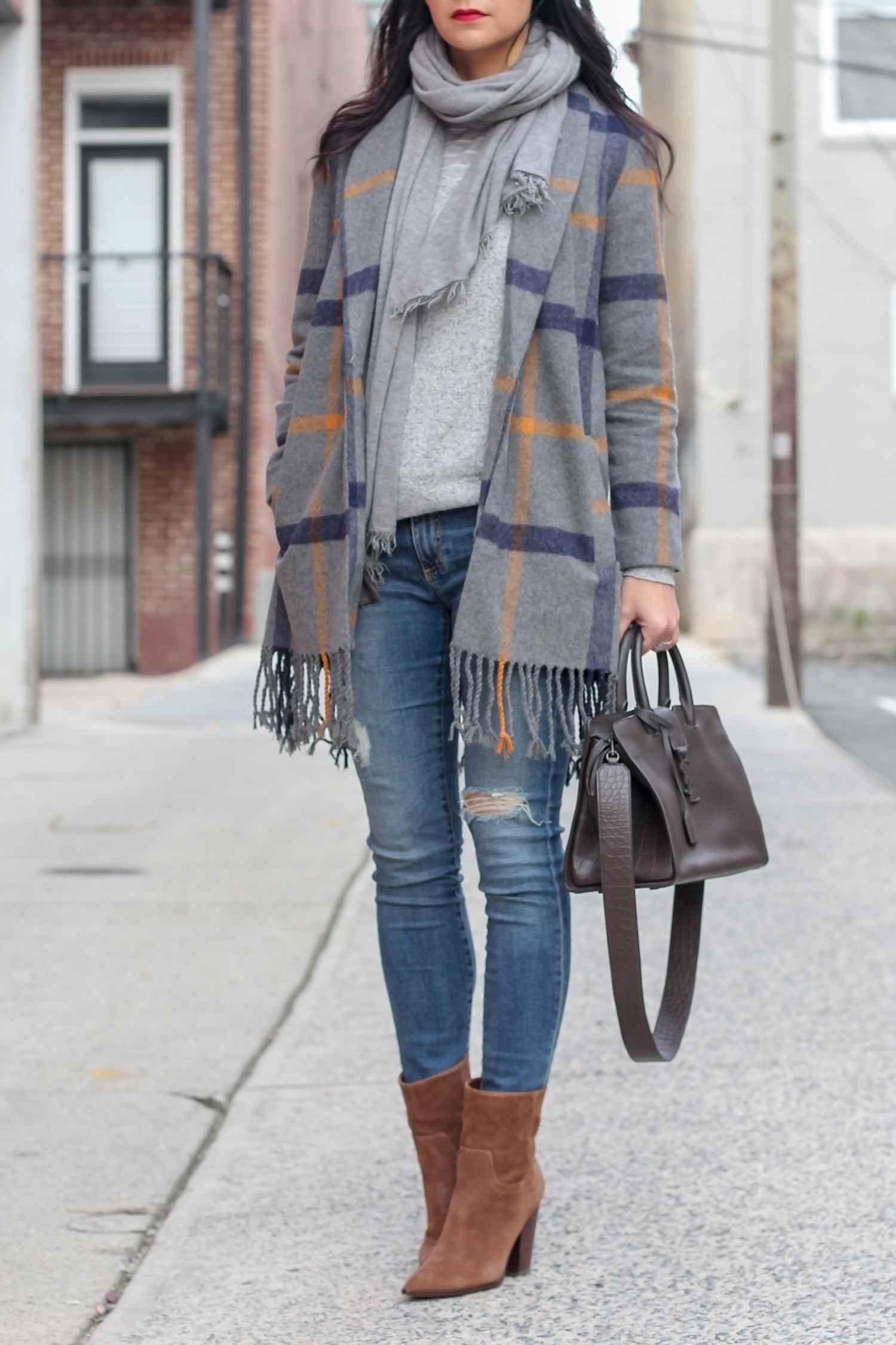 Plaid Coat; YSL Downtown Cabas Bag, Cute Fall Style, Winter Plaid Coat