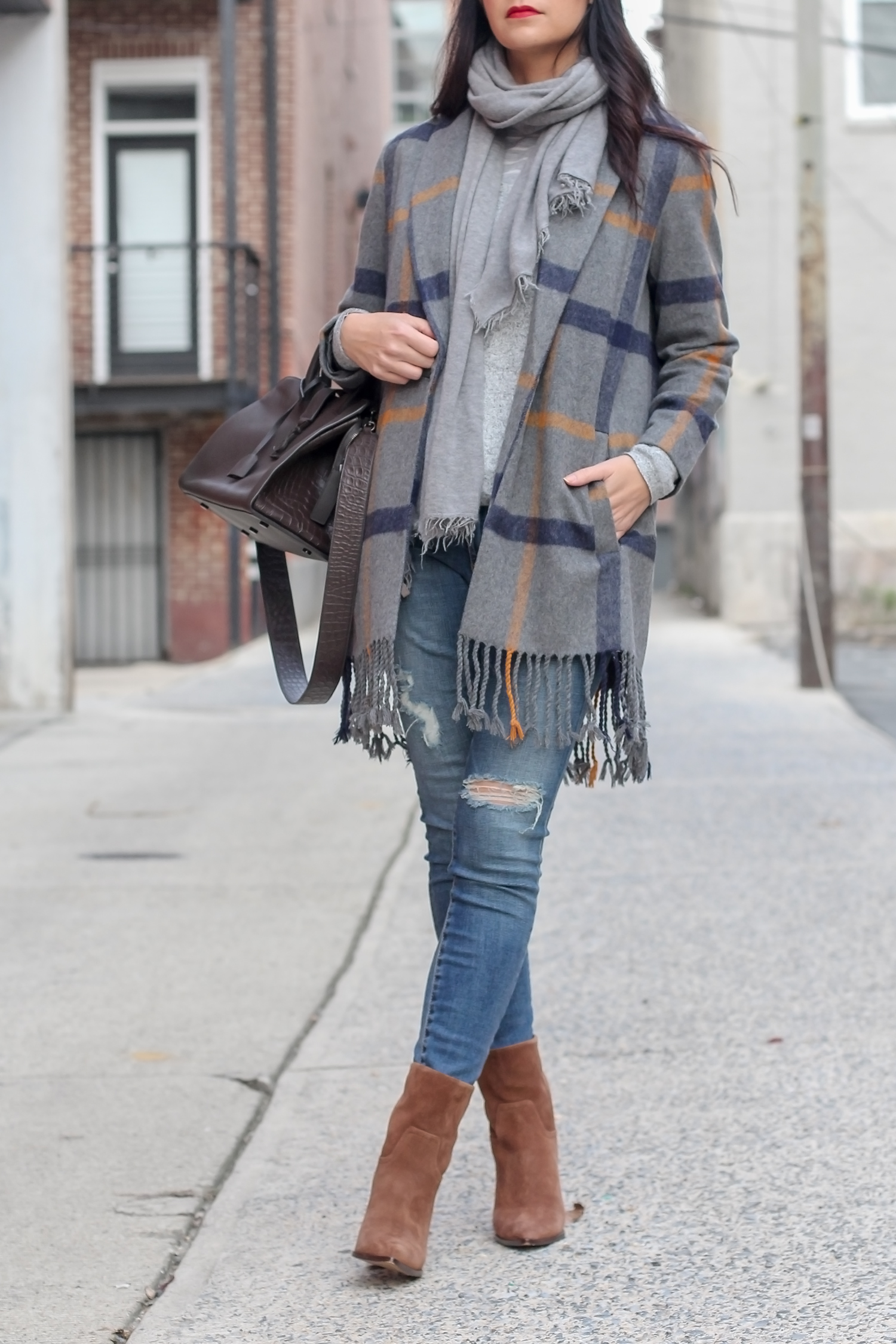 Easy Fall Outfit, Cognac Ankle Boots, Western Style Boots