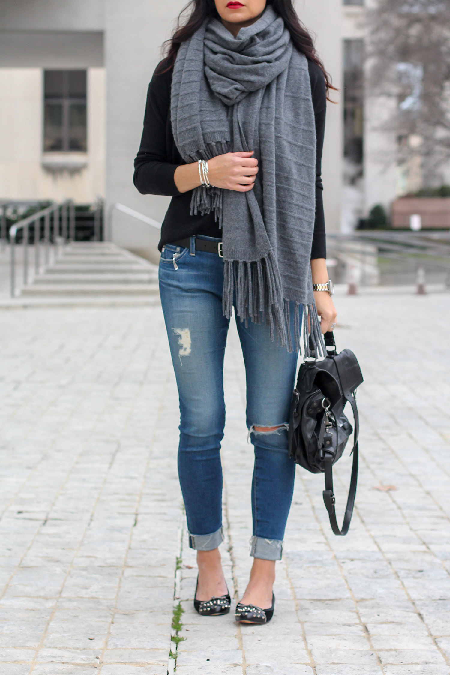 How to Style an Oversized Cashmere Scarf