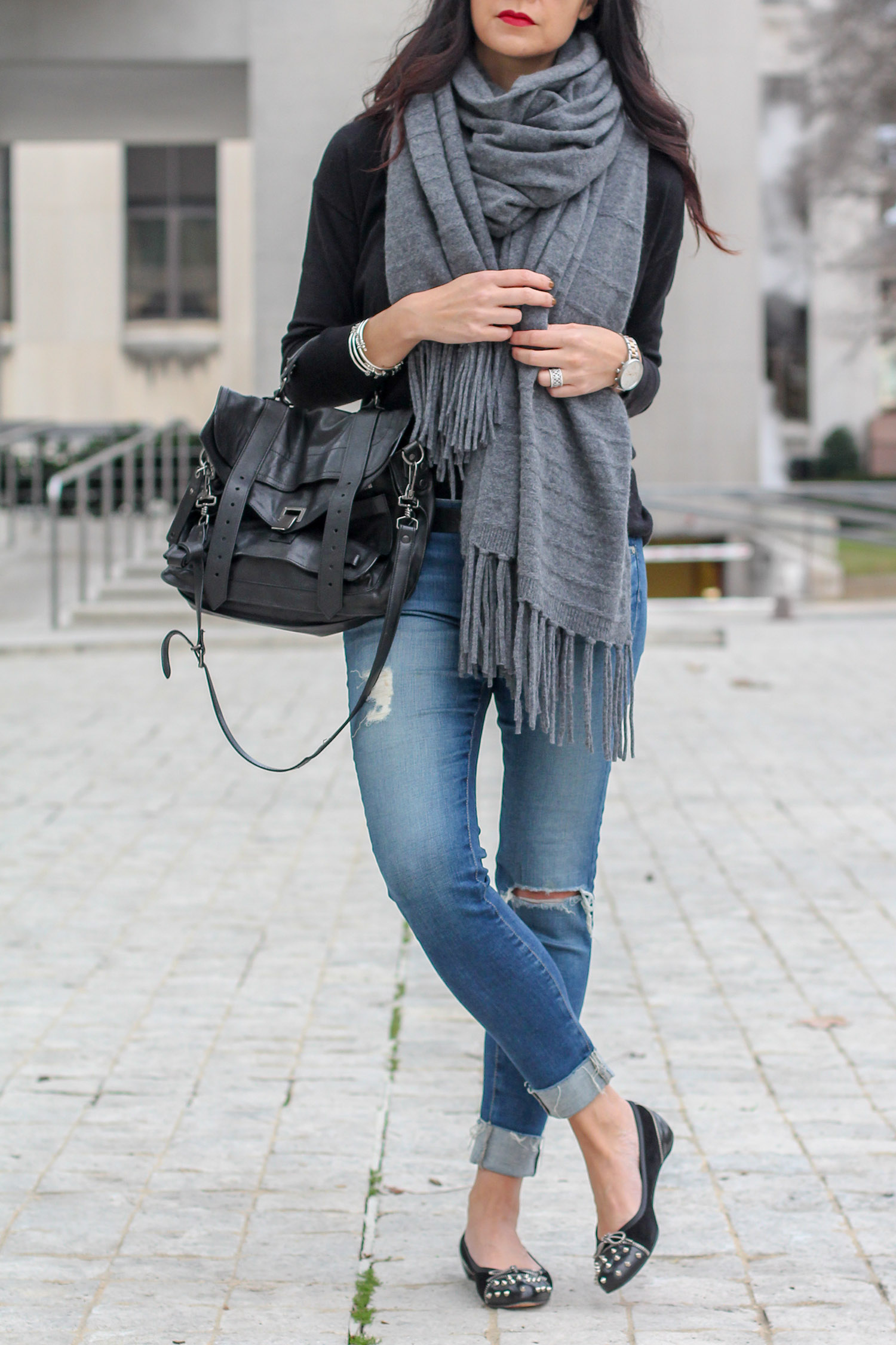 Distressed Jeans with Flats Outfit